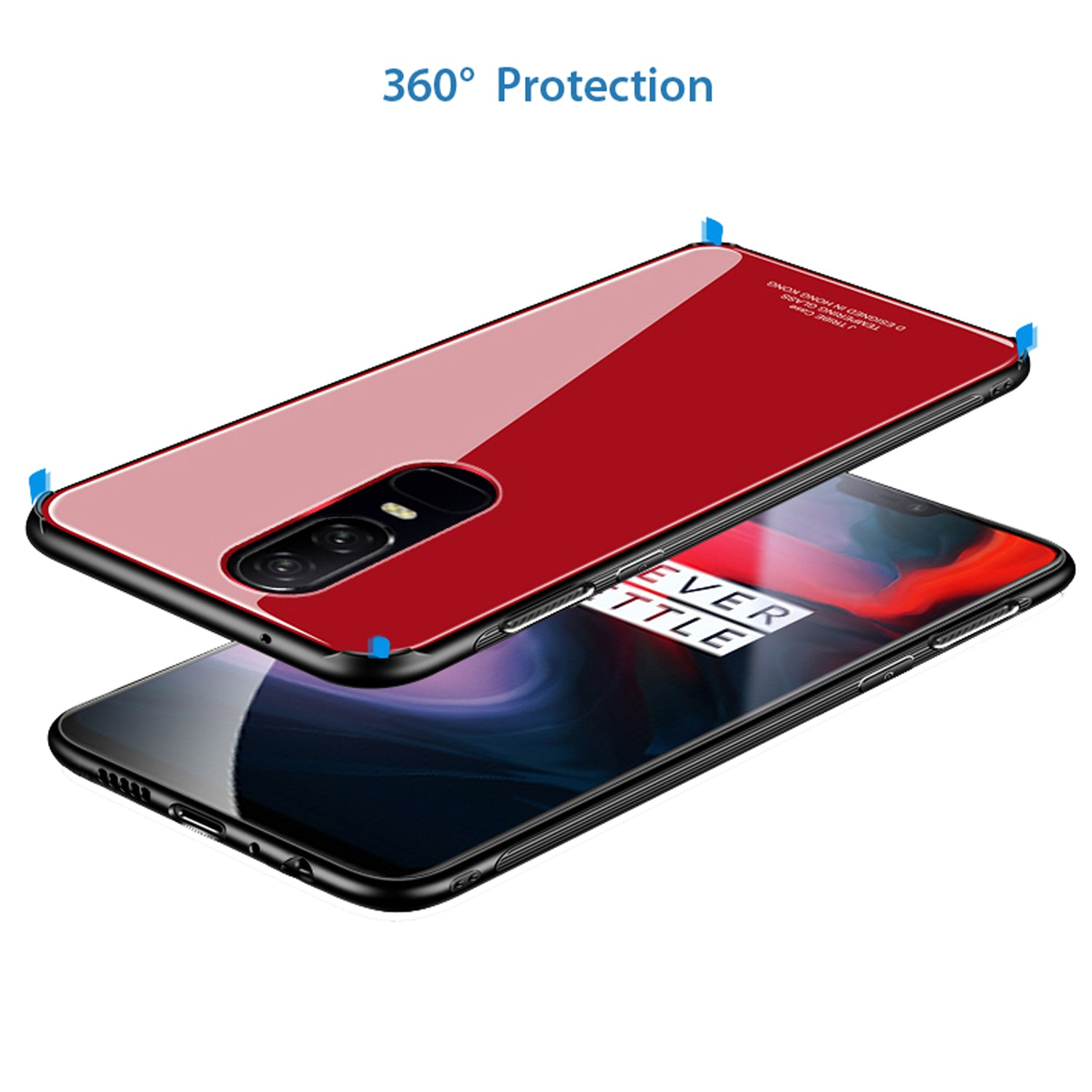 Toughened Glass Back Shock Proof Slim Case Cover for Oneplus 6 - Red - Mobizang