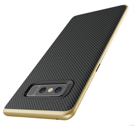 Hornet-II Ultra Thin Carbon Finish Shockproof Back + Bumper Case Cover for Samsung Galaxy Note 8 - Gold - Mobizang