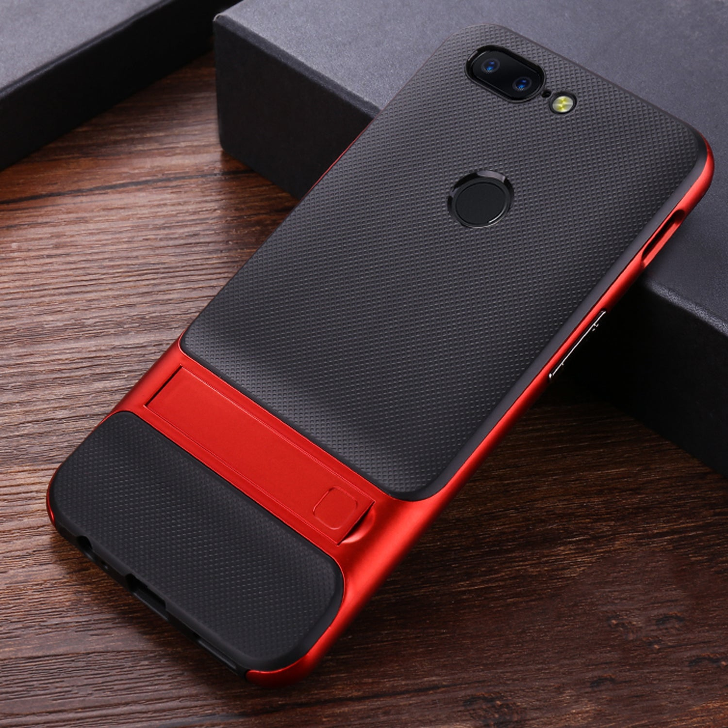 Shock Proof Stand Back Case Cover for Oneplus 5T - Red - Mobizang