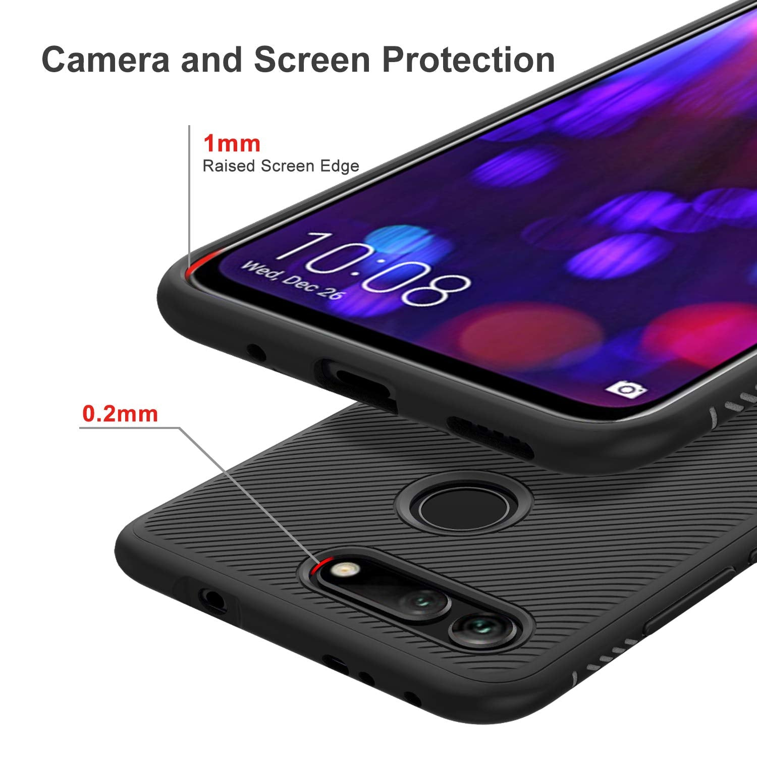 Twill Shock Proof Soft Flexible Back Case Cover for Honor View 20 - Black - Mobizang