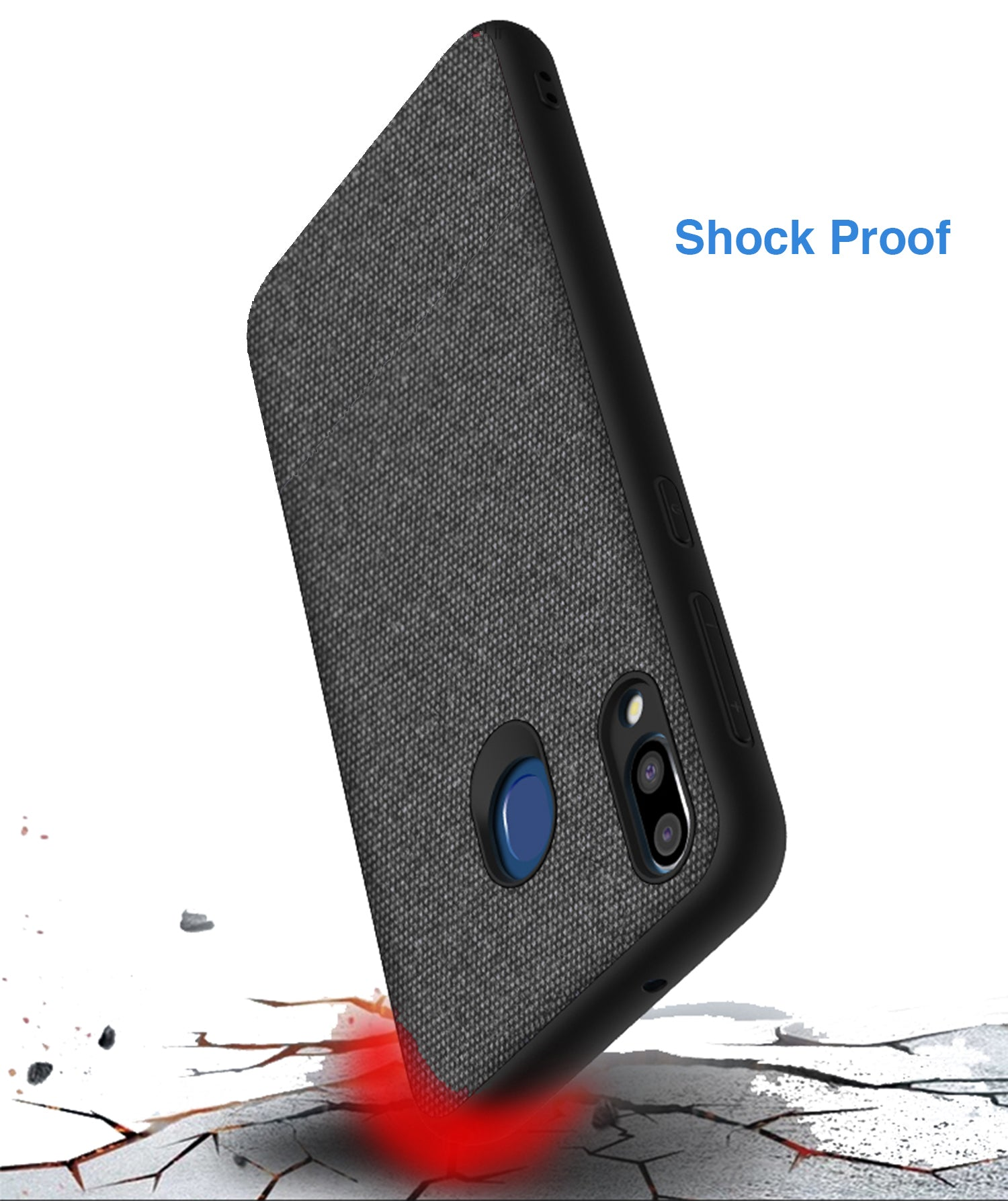 Soft Fabric Hybrid Protective Shock Proof Case Cover for Samsung Galaxy M20 - Mobizang