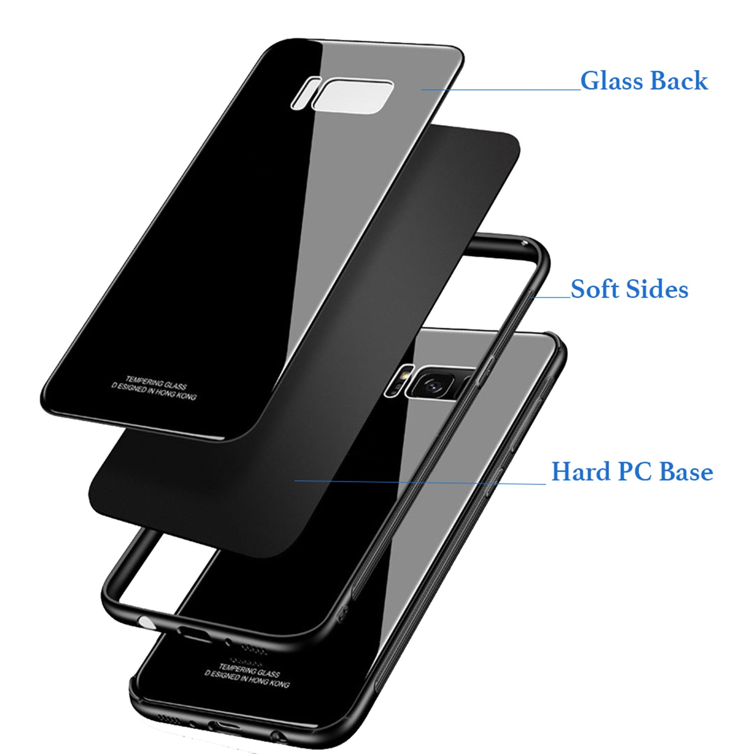 Toughened Glass Back Shock Proof Slim Case Cover for Samsung Galaxy S8 - Black - Mobizang