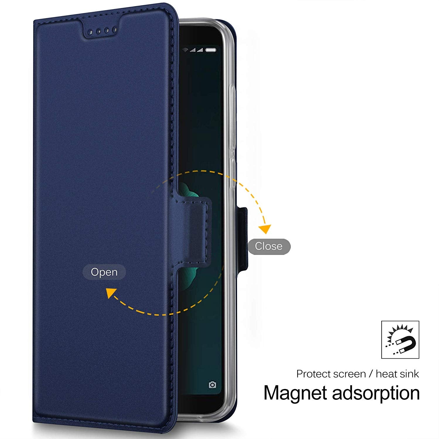 Noble Slim Magnetic & Card Holder Stand Leather Flip Case Cover for Xiaomi Mi A2 - Blue - Mobizang