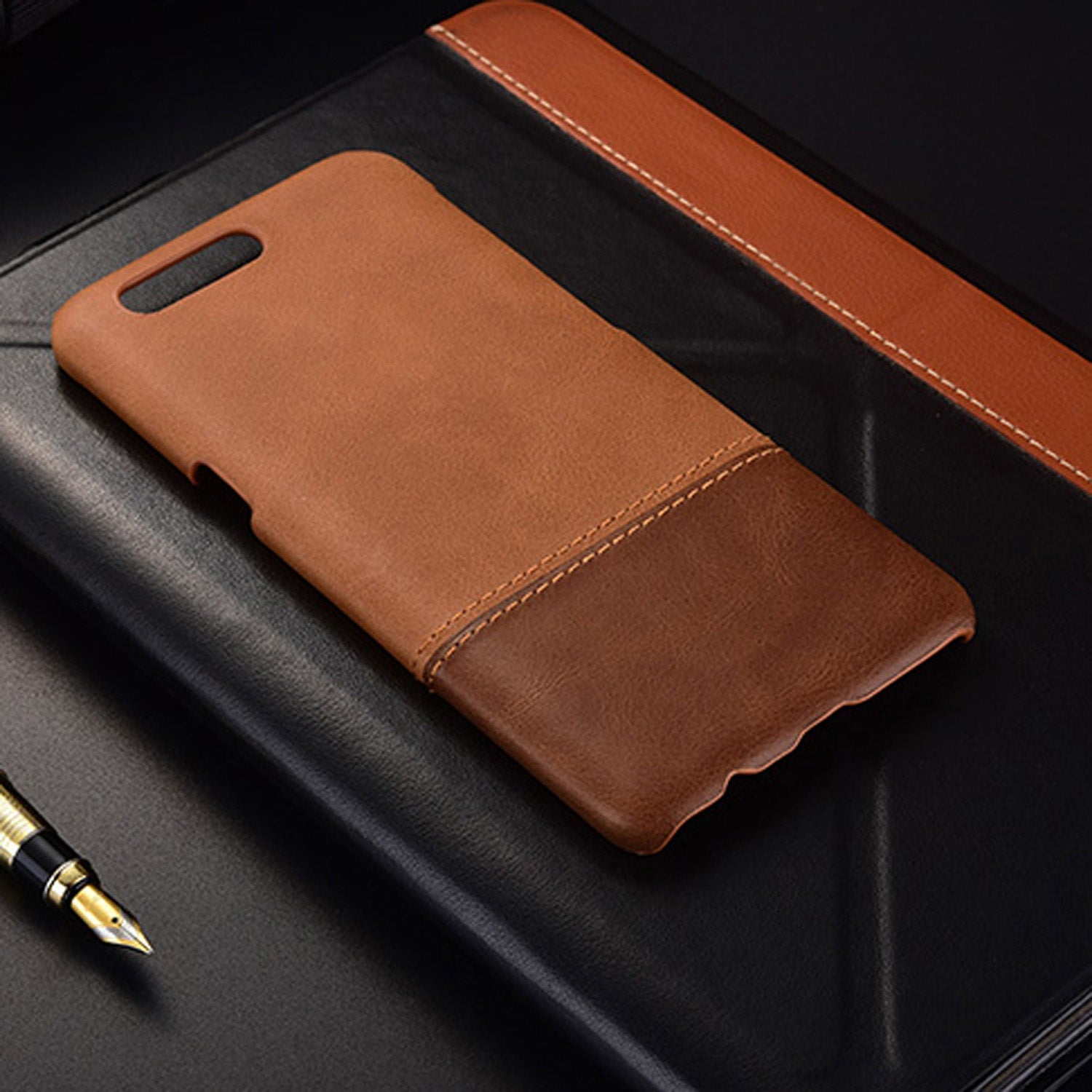 Genuine Leather Dual Color Hand Stitched Premium Protective Case Cover for Oneplus 5 - Brown - Mobizang
