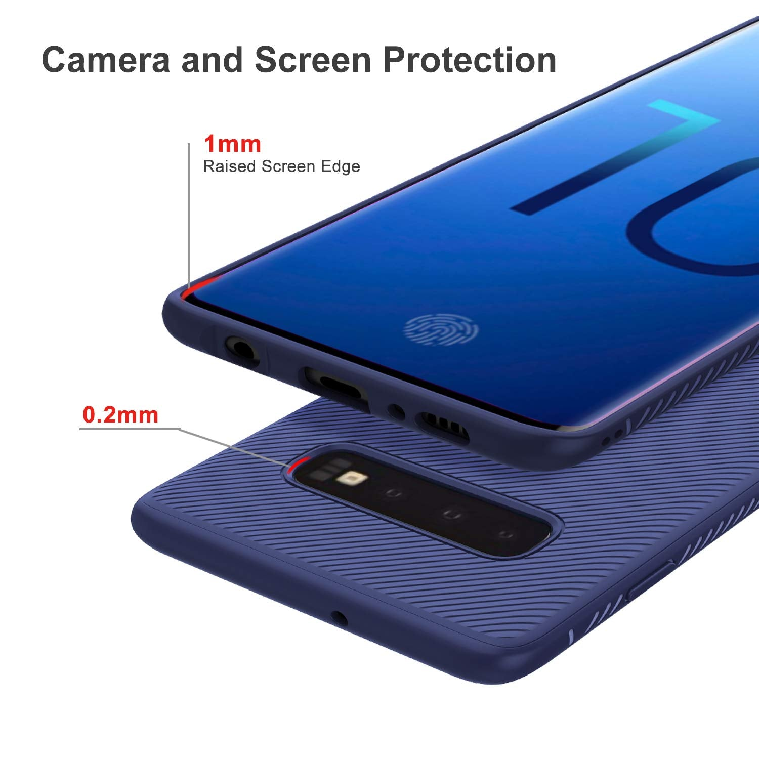 Twill Shock Proof Soft Flexible Back Case Cover for Samsung Galaxy S10 - Blue - Mobizang