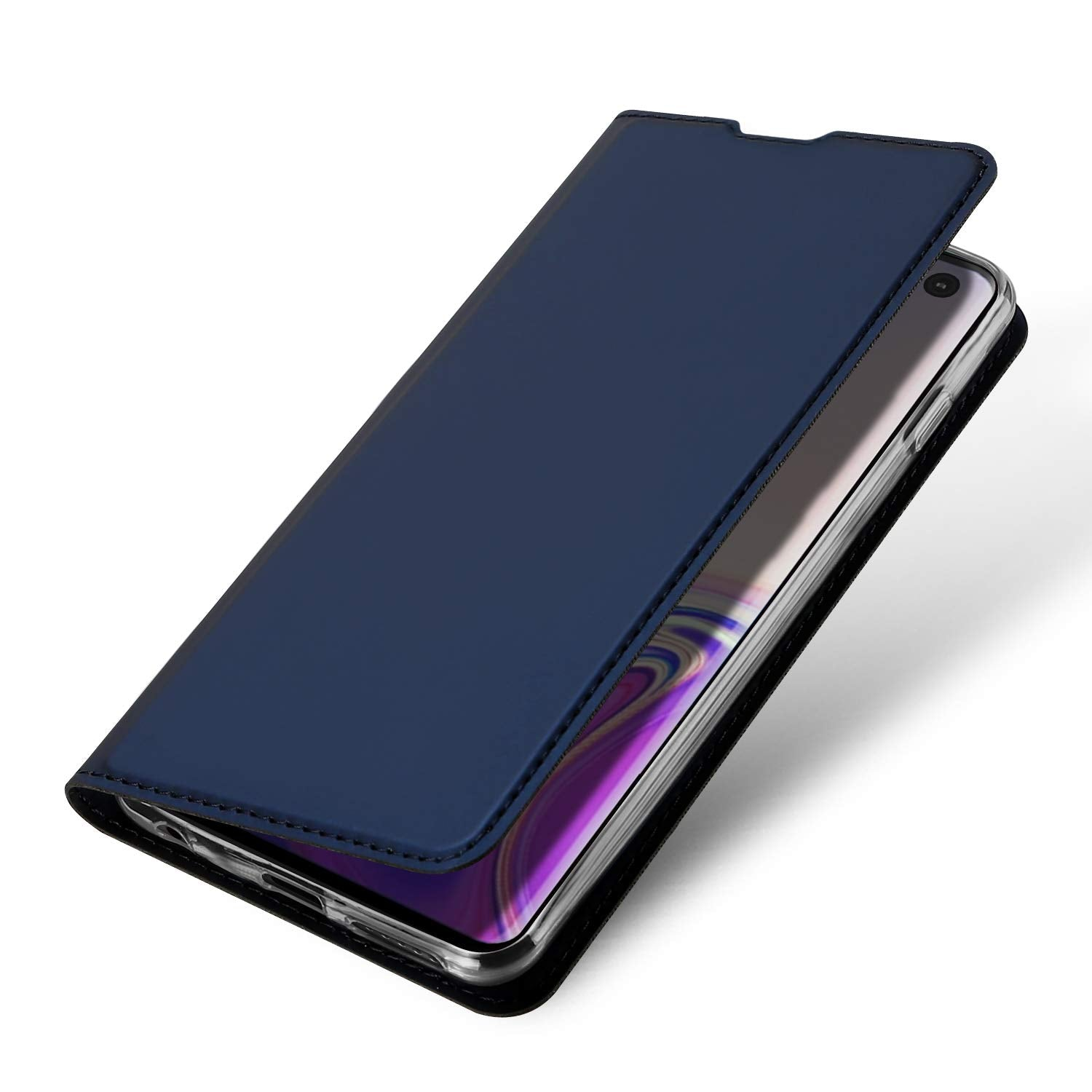 Ulta Slim Magnetic Closure PU Leather Stand Flip Case Cover [with Inbuilt Card Slot] for Samsung Galaxy S10 Plus - Blue - Mobizang