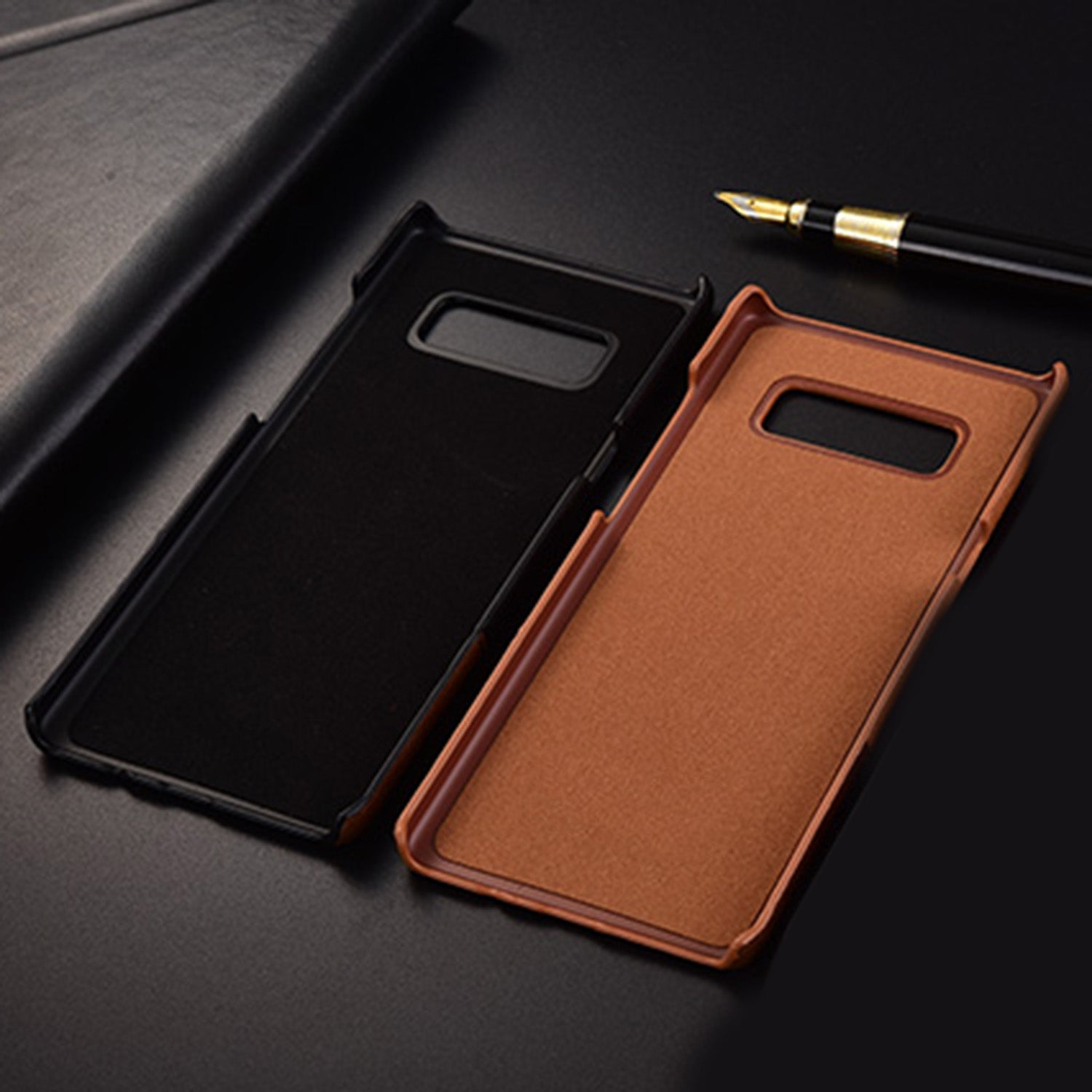 Genuine Leather Dual Color Hand Stitched Premium Protective Case Cover for Samsung Galaxy Note 8 - Brown - Mobizang