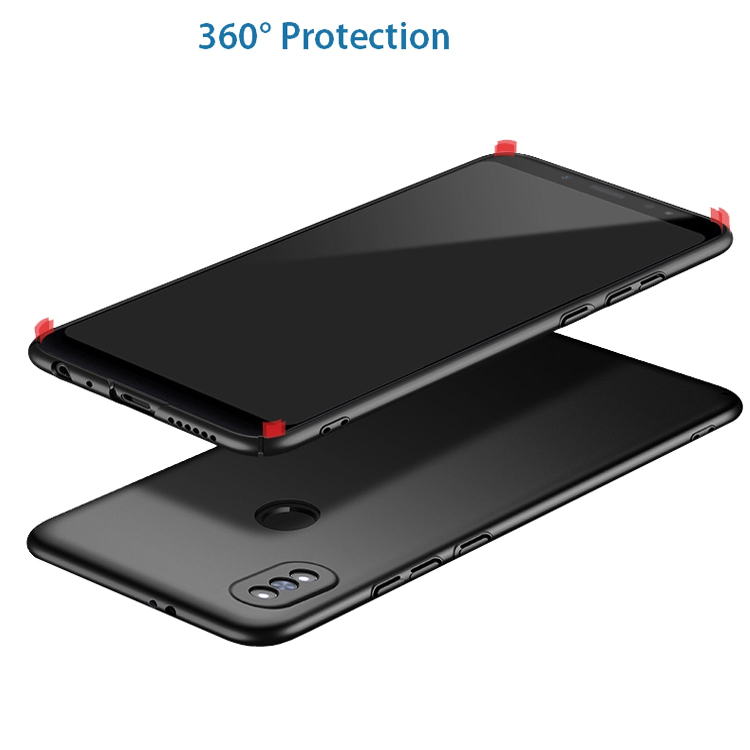 Silk Smooth Finish All Sides Protection Slim Camera Lens + Back Case Cover For Xiaomi Redmi Note 5 PRO - Black - Mobizang