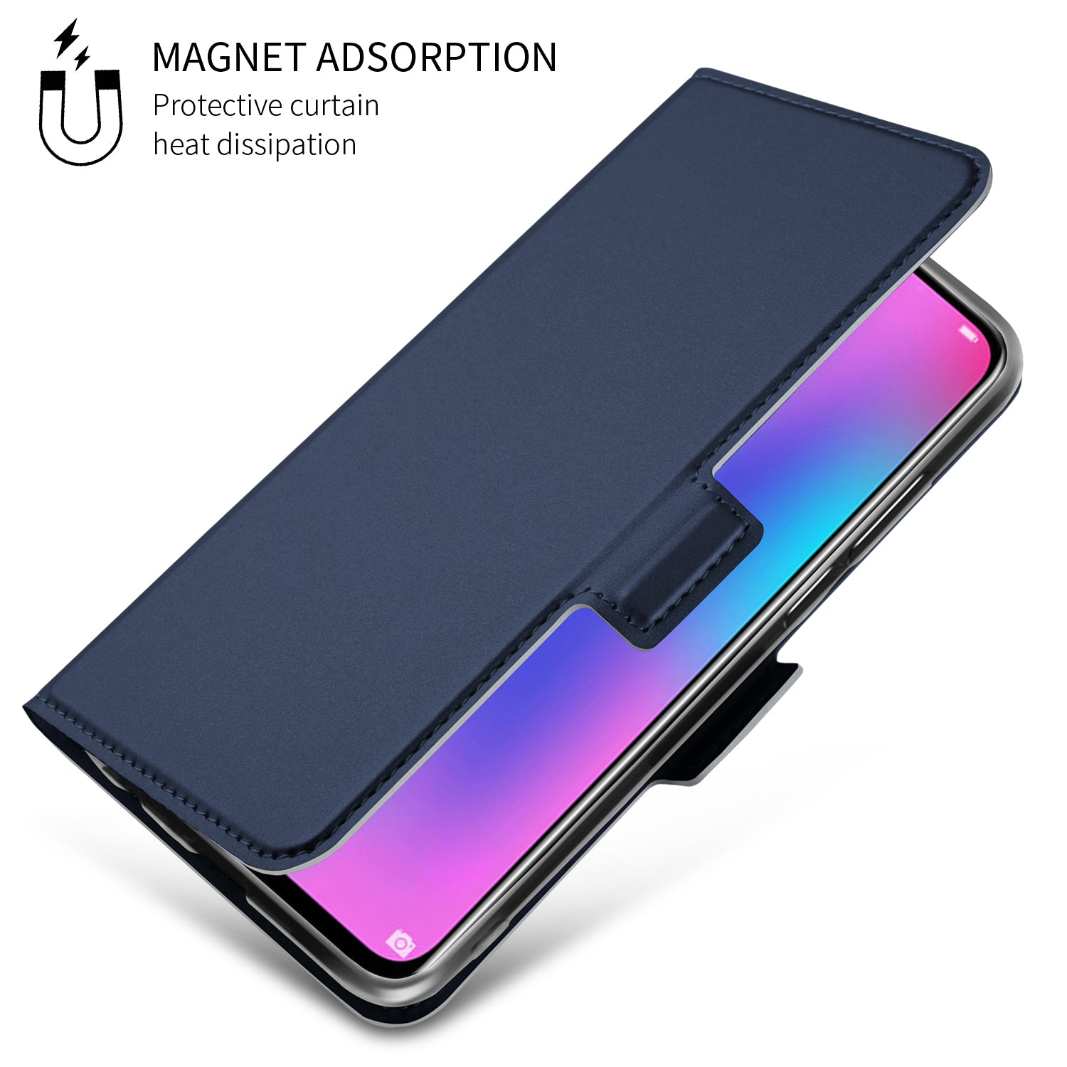 Noble Slim Magnetic & Card Holder Stand Leather Flip Case Cover for Honor 10 Lite - Blue - Mobizang
