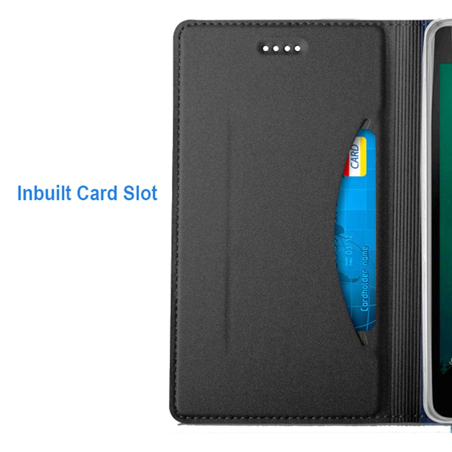 Noble Slim Magnetic & Card Holder Stand Leather Flip Case Cover for Samsung Galaxy A7 (2018) - Black - Mobizang