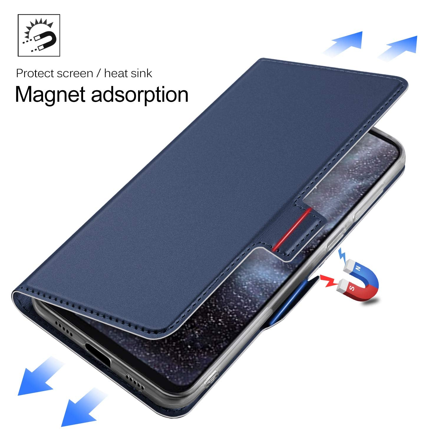 Noble Slim Magnetic & Card Holder Stand Leather Flip Case Cover for Xiaomi Mi Play - Blue - Mobizang