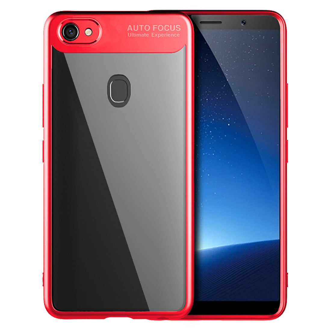 Lens Protector Clear 360° Protection Back Case Cover for Oppo F5 - Red - Mobizang