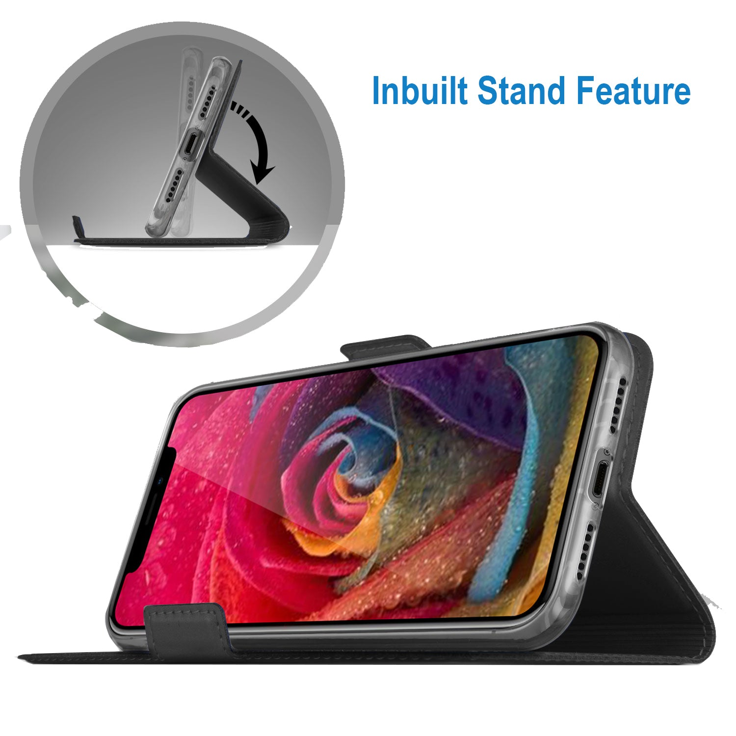 Noble Slim Magnetic & Card Holder Stand Leather Flip Case Cover for Apple iPhone XR - Black - Mobizang