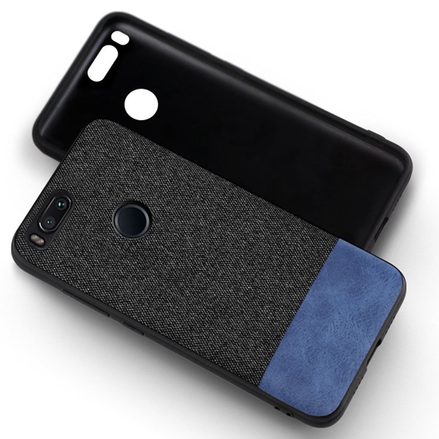 Fabric + Leather Hybrid Protective Case Cover for Xiaomi Mi A1 -  Black , Blue - Mobizang