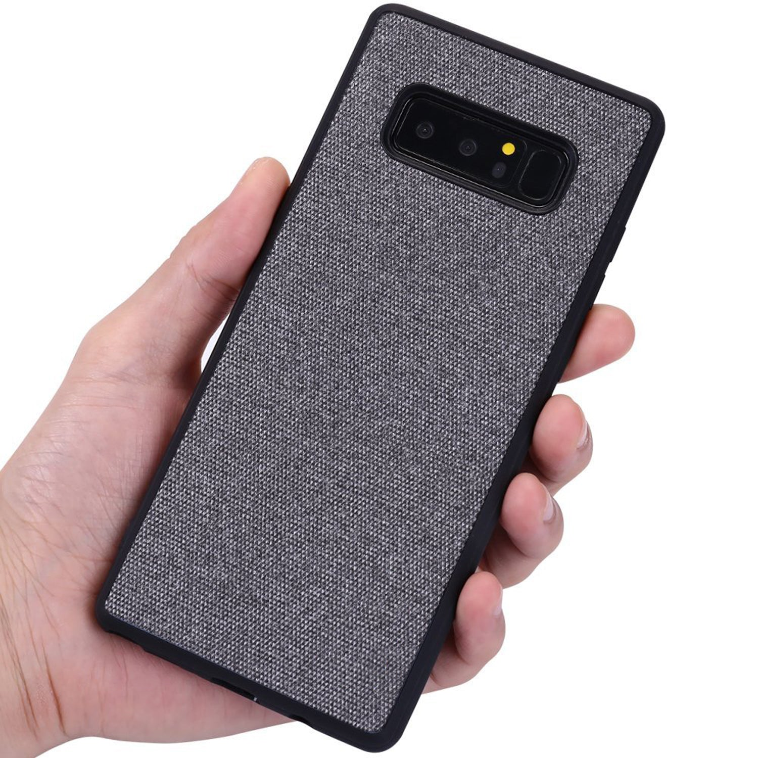 Fabric Hybrid Protective Case Cover for Samsung Galaxy Note 8 - Grey - Mobizang