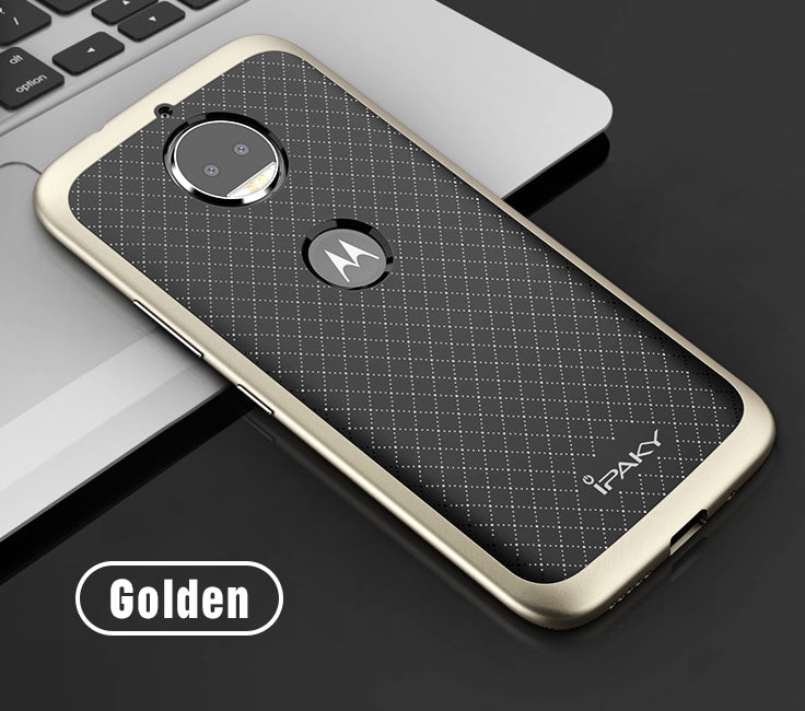 iPaky Hybrid Ultra Thin Shockproof Back + Bumper Case Cover for Motorola Moto G5S Plus - Gold - Mobizang