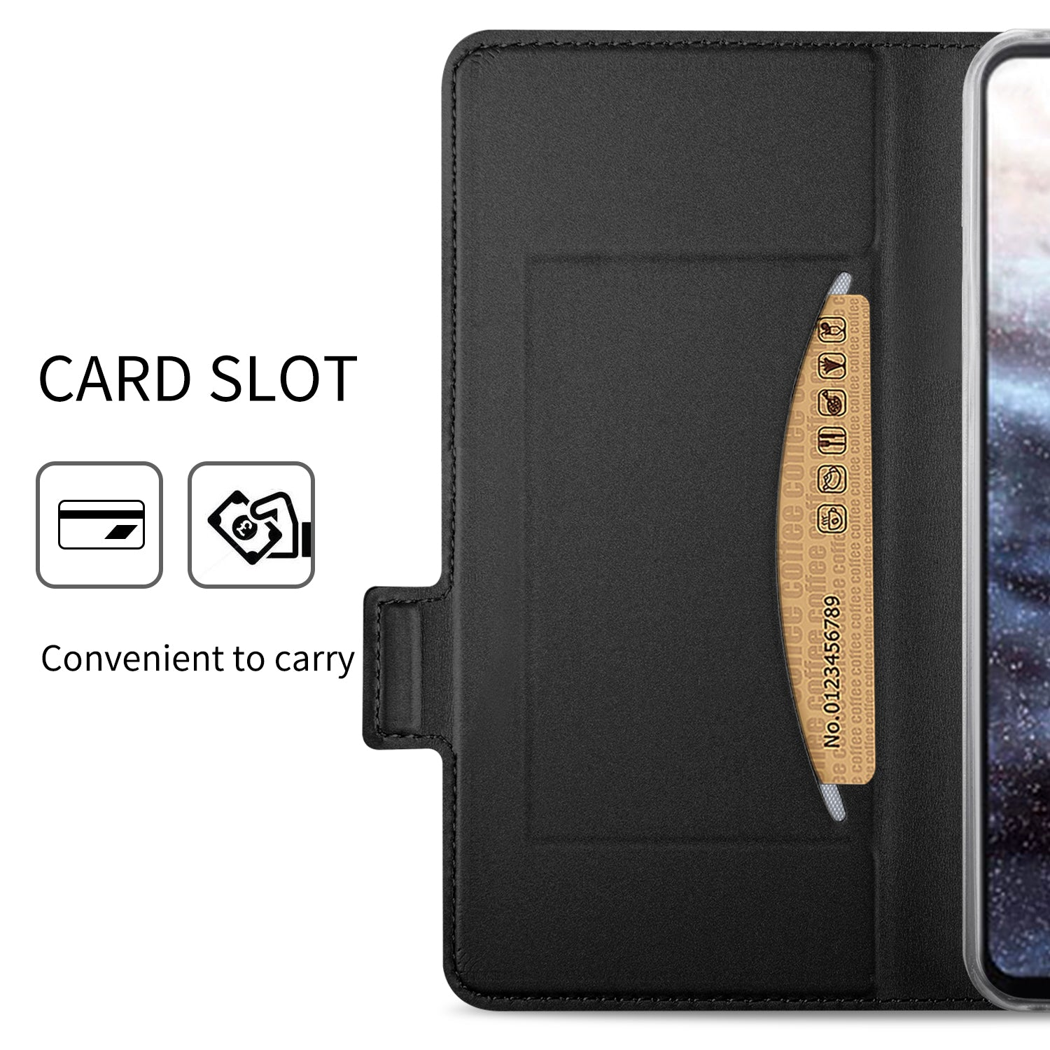 Noble Slim Magnetic & Card Holder Stand Leather Flip Case Cover for Xiaomi Mi Play - Black - Mobizang