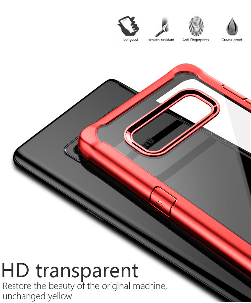 Shock Proof Armor Acrylic Transparent Back Case Cover for Samsung Galaxy Note 8 - Red - Mobizang
