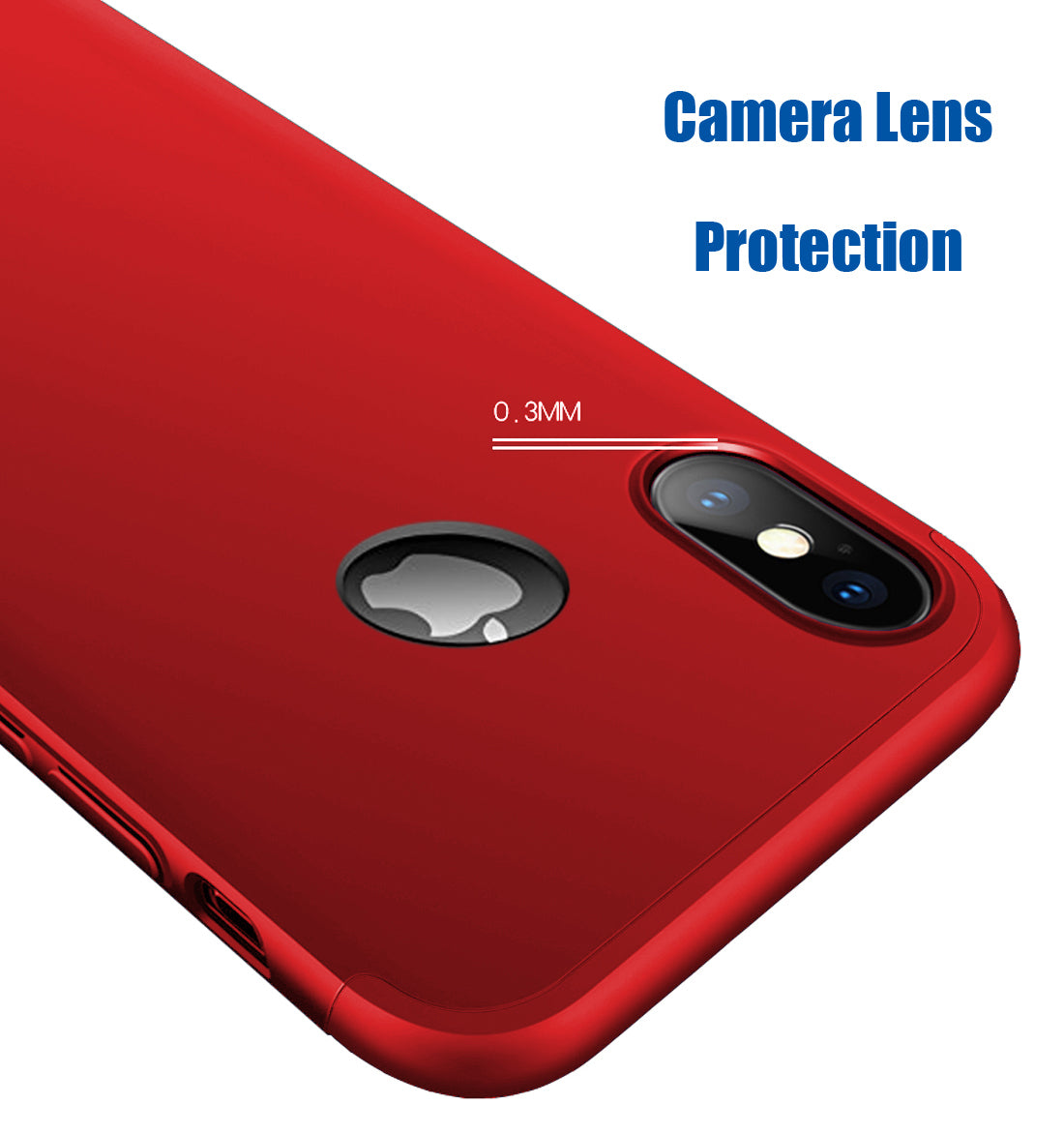 Double Dip Full 360 Protection Back Case Cover (With Logo Hole) For Apple iPhone X - Red - Mobizang