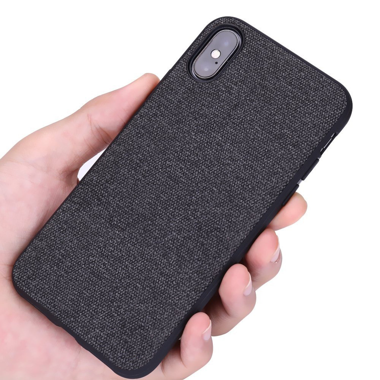 Fabric Hybrid Protective Case Cover for Apple iPhone X - Black - Mobizang