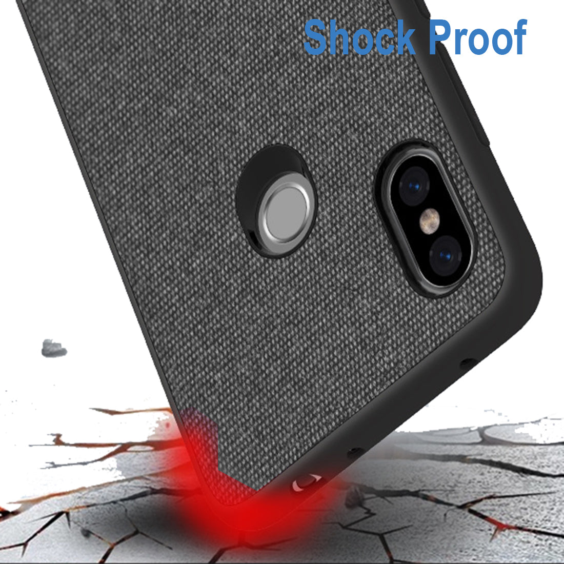 Fabric + Leather Hybrid Protective Back Case Cover for Xiaomi Redmi Note 6 PRO  -  Black , Blue - Mobizang