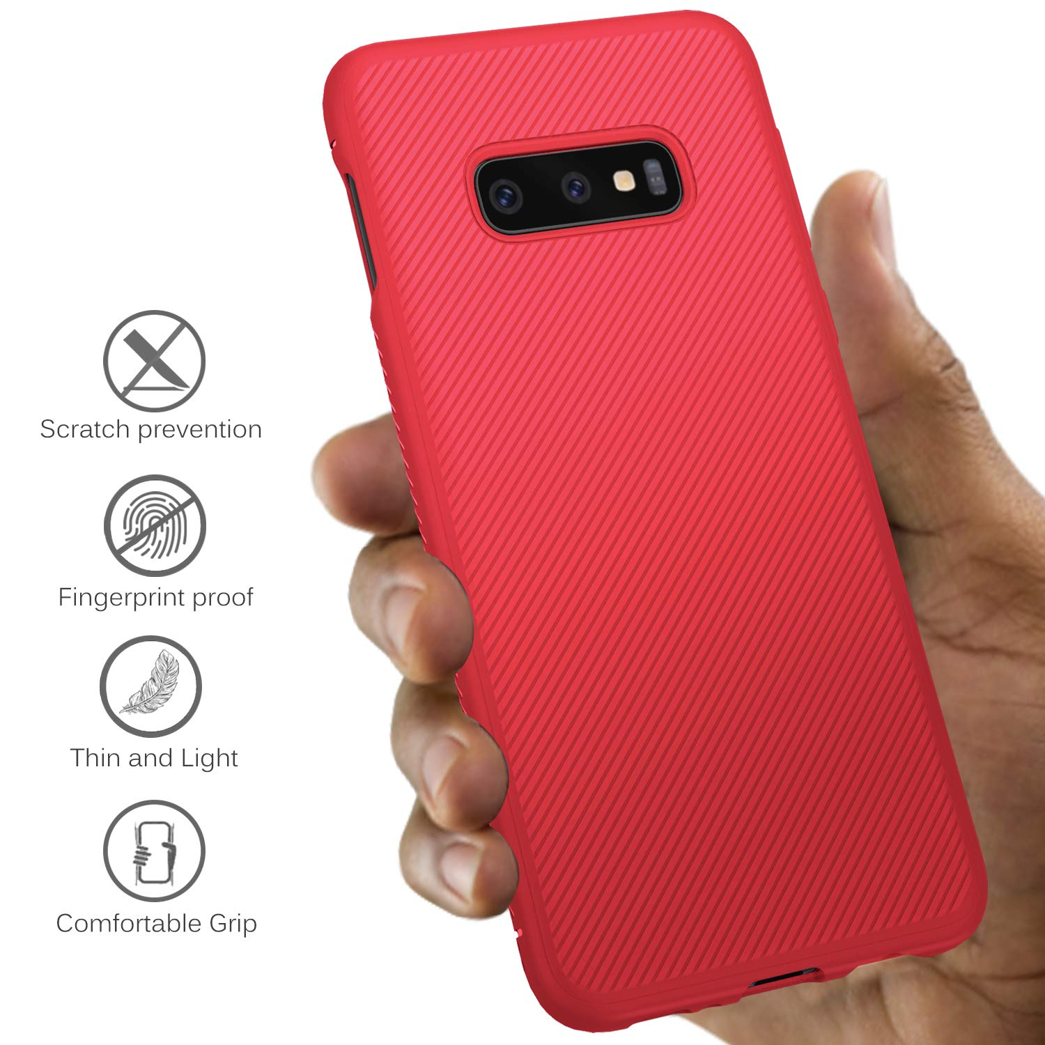 Twill Shock Proof Soft Flexible Back Case Cover for Samsung Galaxy S10e - Red - Mobizang
