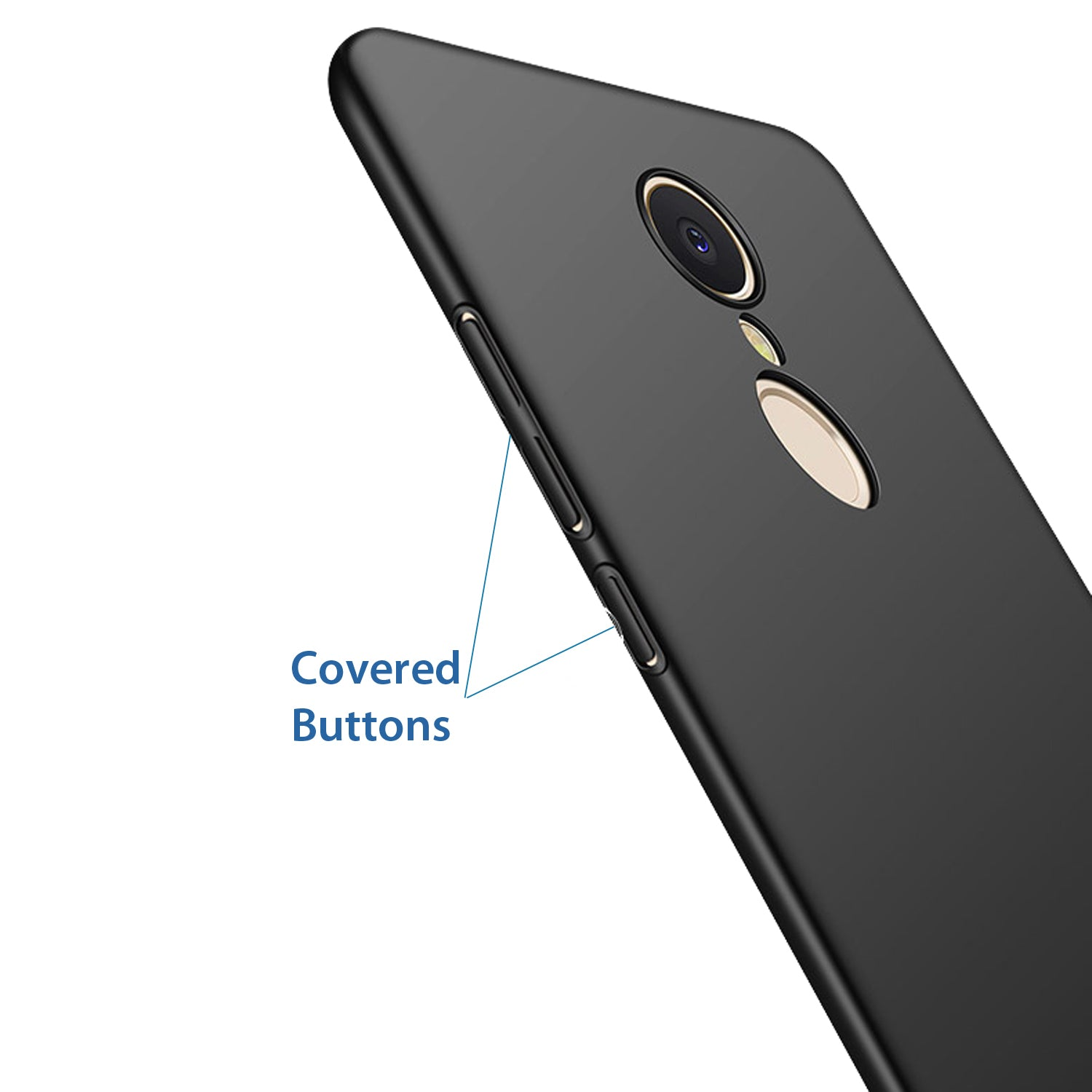 Silk Smooth Finish [Full Coverage] All Sides Protection Slim Back Case Cover For Xiaomi Redmi Note 5 - Black - Mobizang