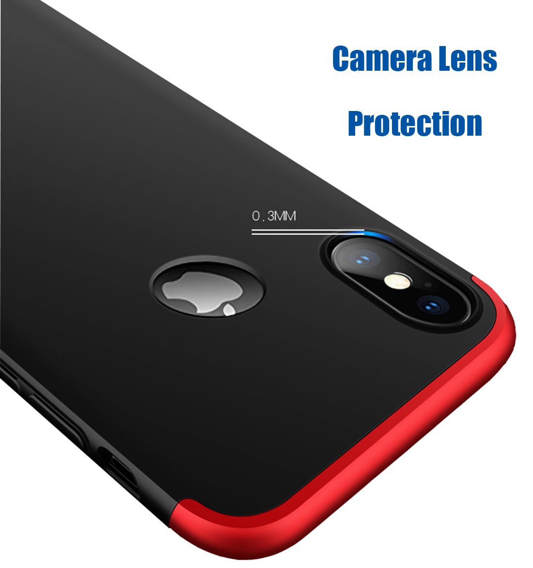 Double Dip Full 360 Protection Back Case Cover (With Logo Hole) For Apple iPhone X - Red / Black - Mobizang