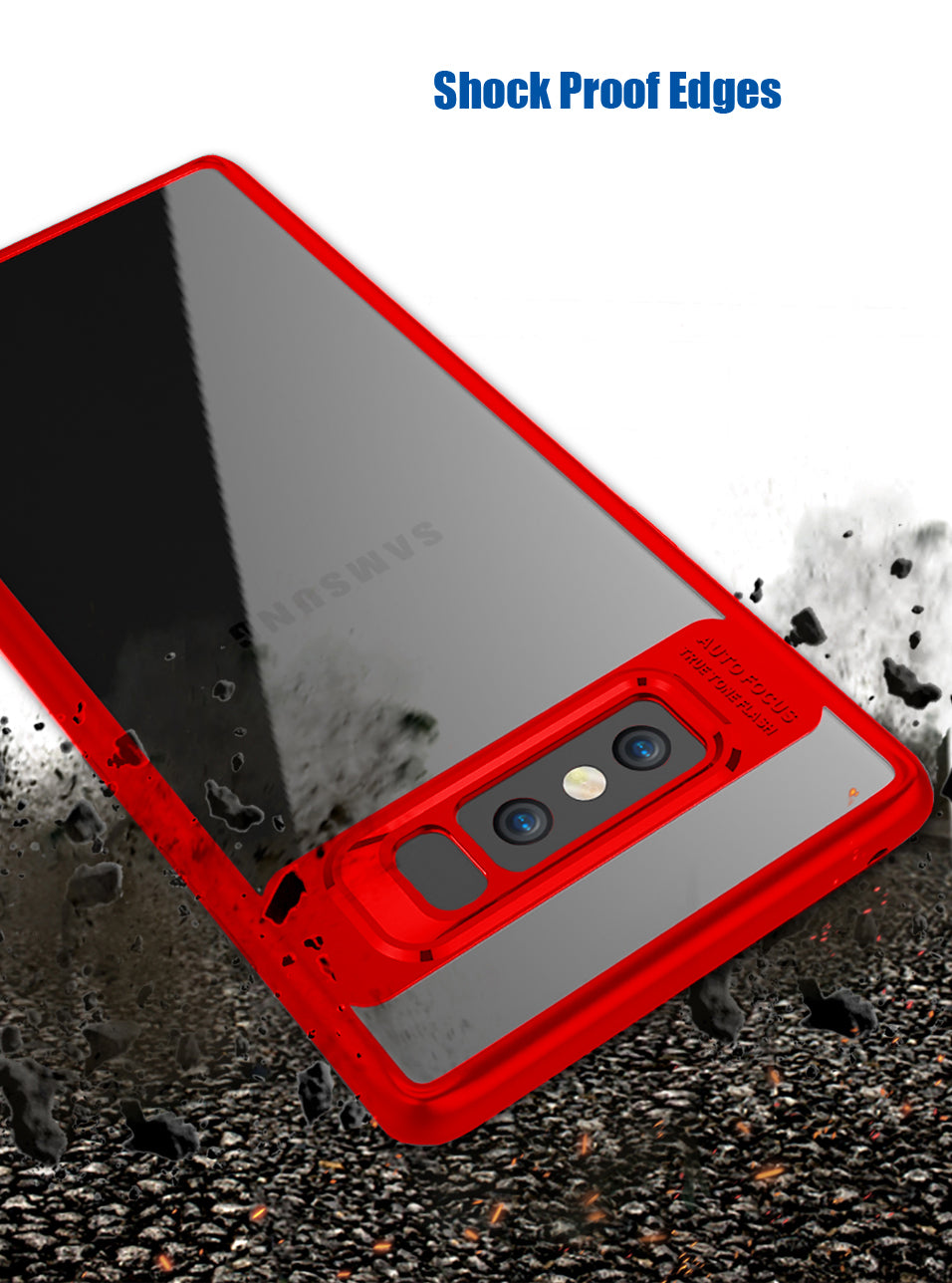 Clear Back Complete Lens Protector Case Cover Compatible For Samsung Galaxy Note 8 - Red - Mobizang