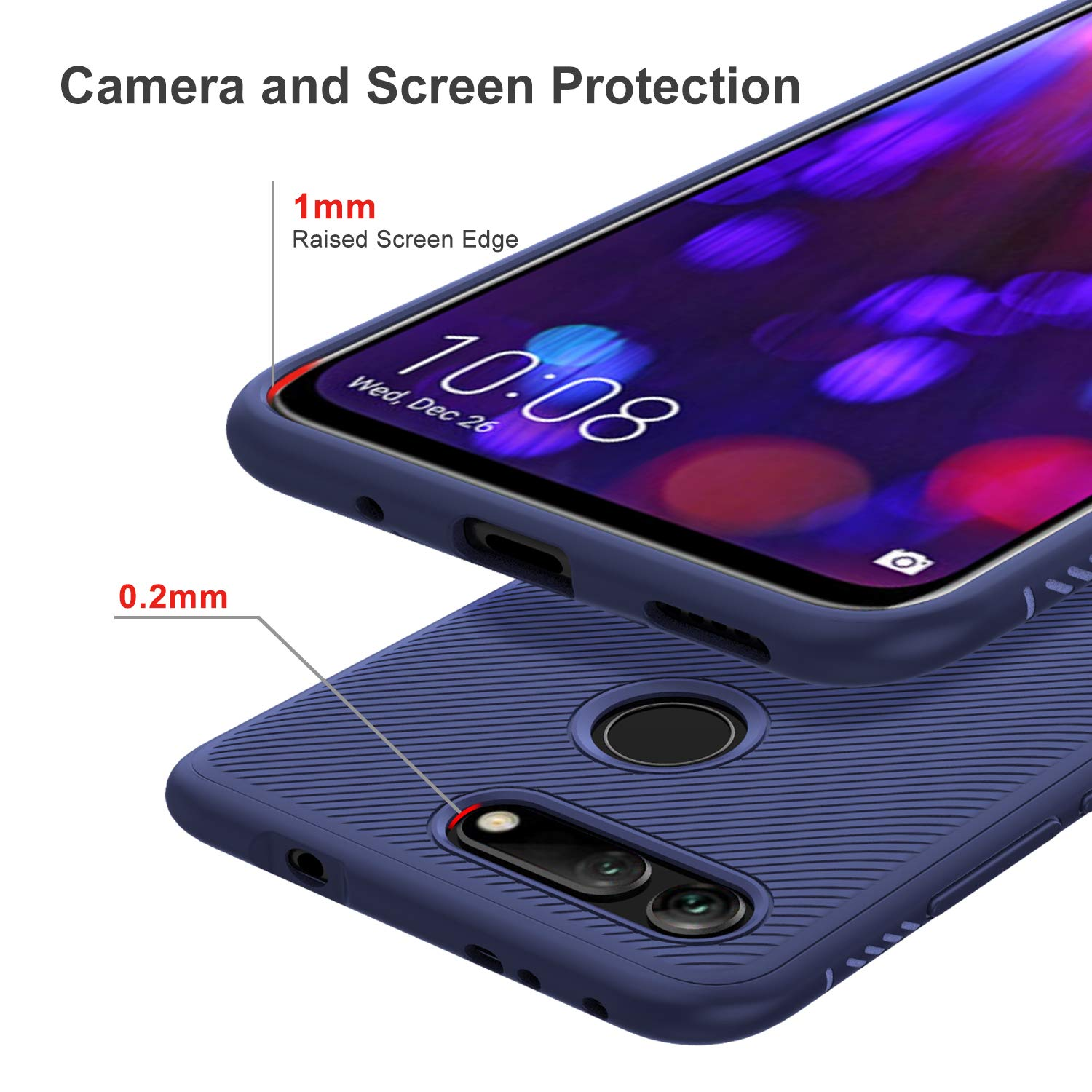 Twill Shock Proof Soft Flexible Back Case Cover for Honor View 20 - Blue - Mobizang