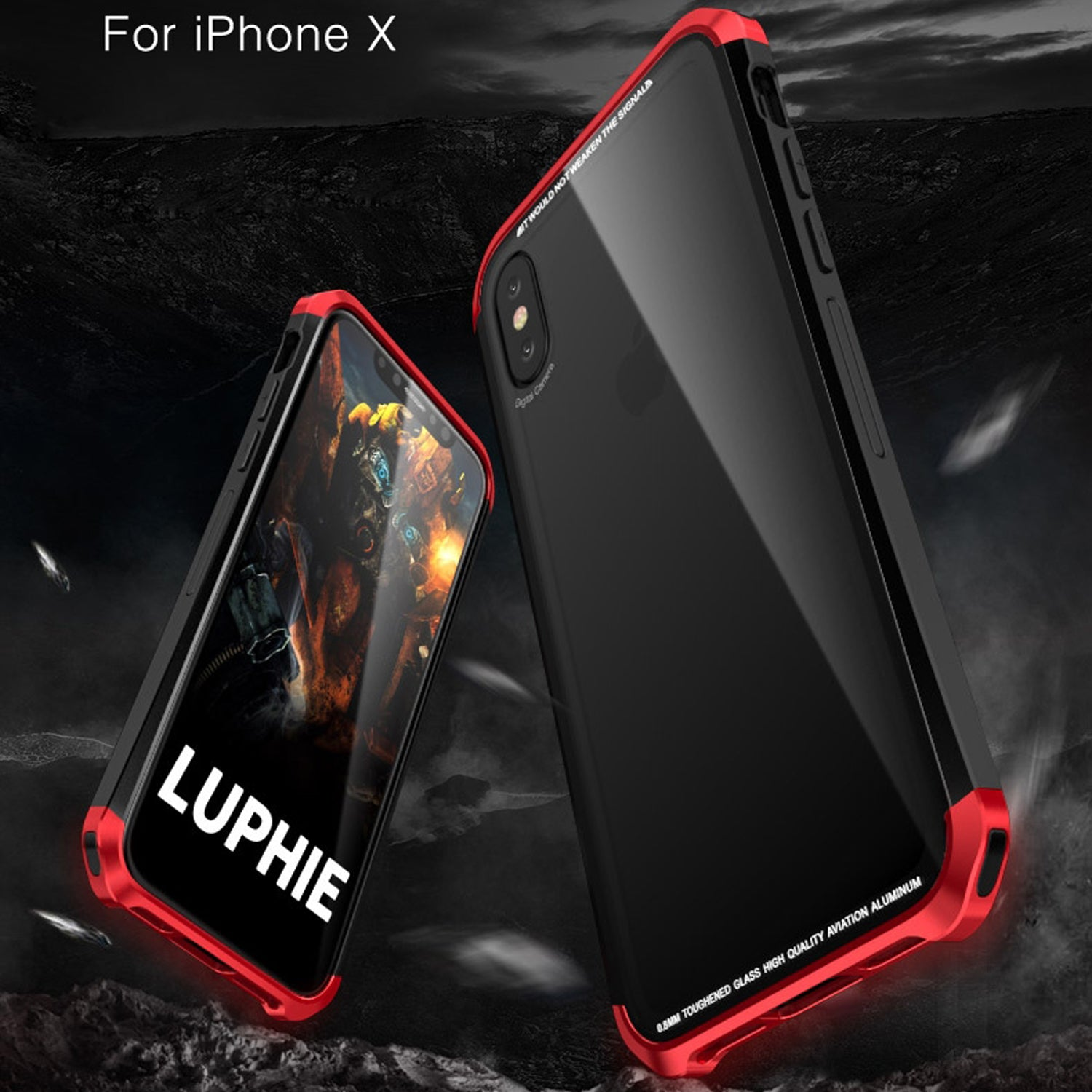 Tempered Glass Back + Metal Side Frame Bumper Shock Proof Case Cover for Apple iPhone XS MAX - Mobizang