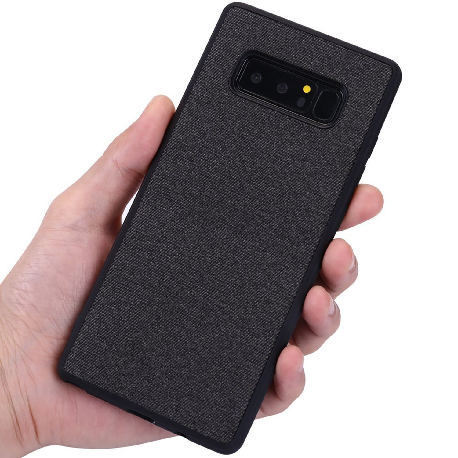 Fabric Hybrid Protective Case Cover for Samsung Galaxy Note 8 - Black - Mobizang