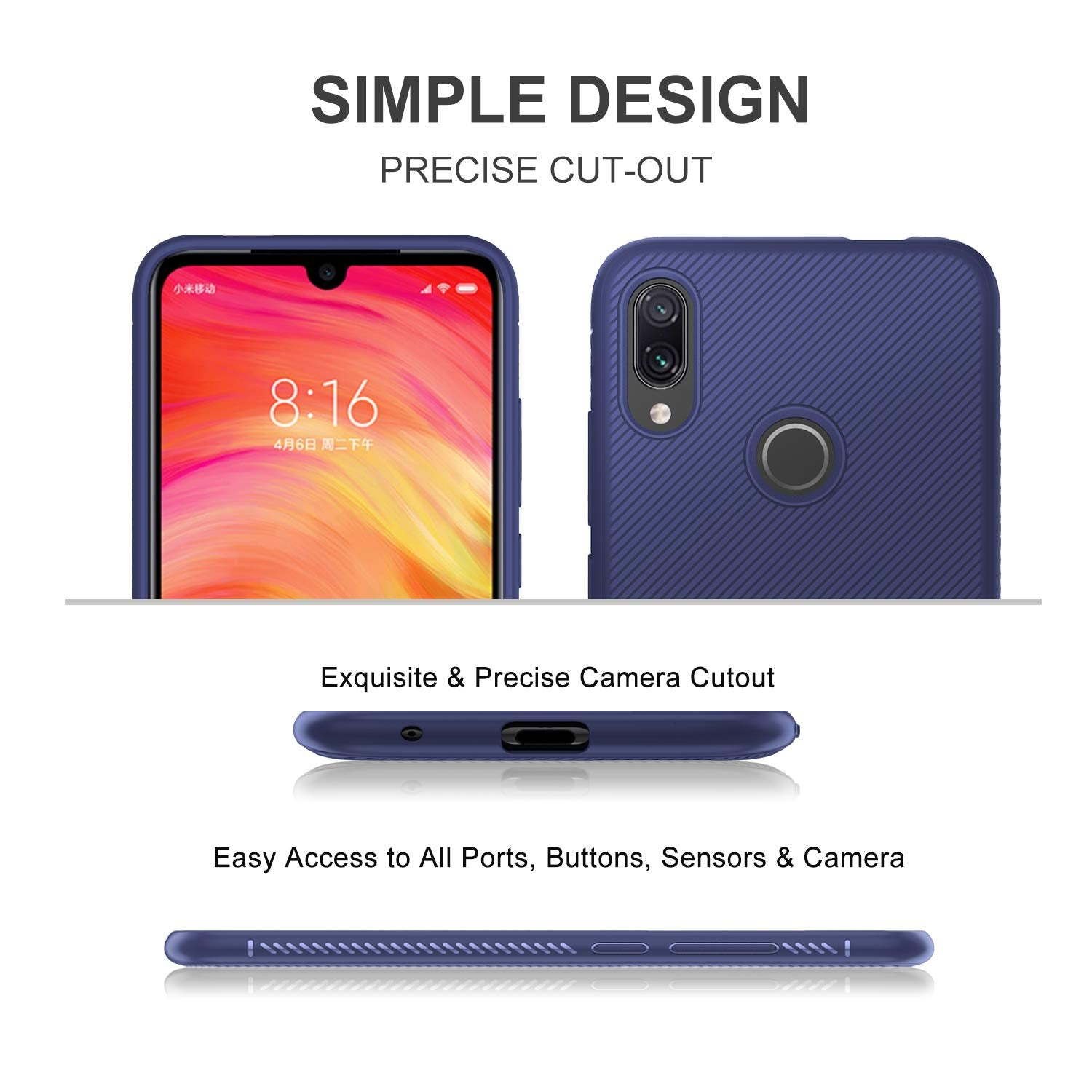 Shock Proof Anti Skid Full Protective Back Case Cover for Redmi Note 7 PRO , Note 7 , Note 7S - BLUE - Mobizang