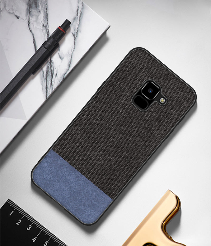 Fabric + Leather Hybrid Premium Protective Cases Cover for Samsung Galaxy A8+ PLUS - Mobizang