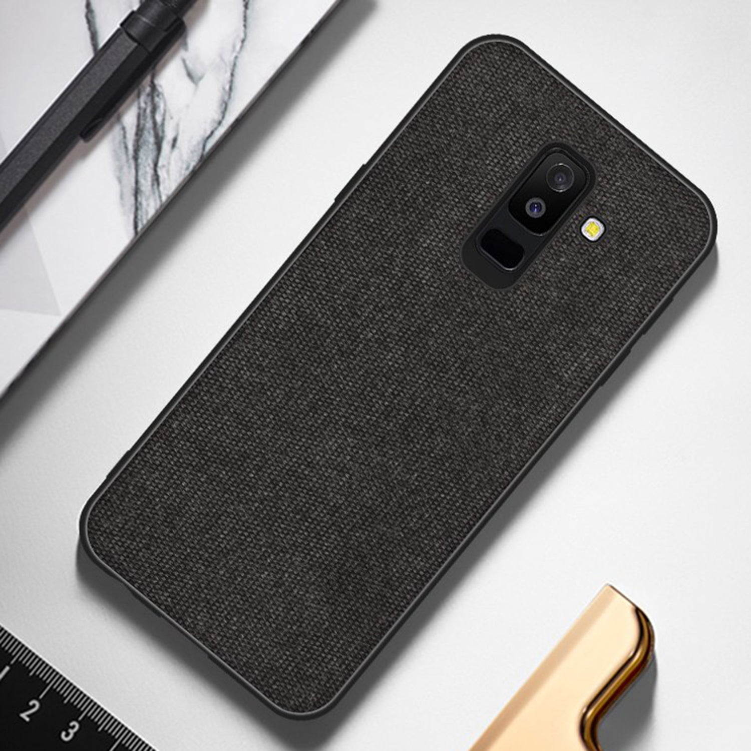 Fabric + Leather Hybrid Premium Protective Cases Cover for Samsung Galaxy J8 - Mobizang