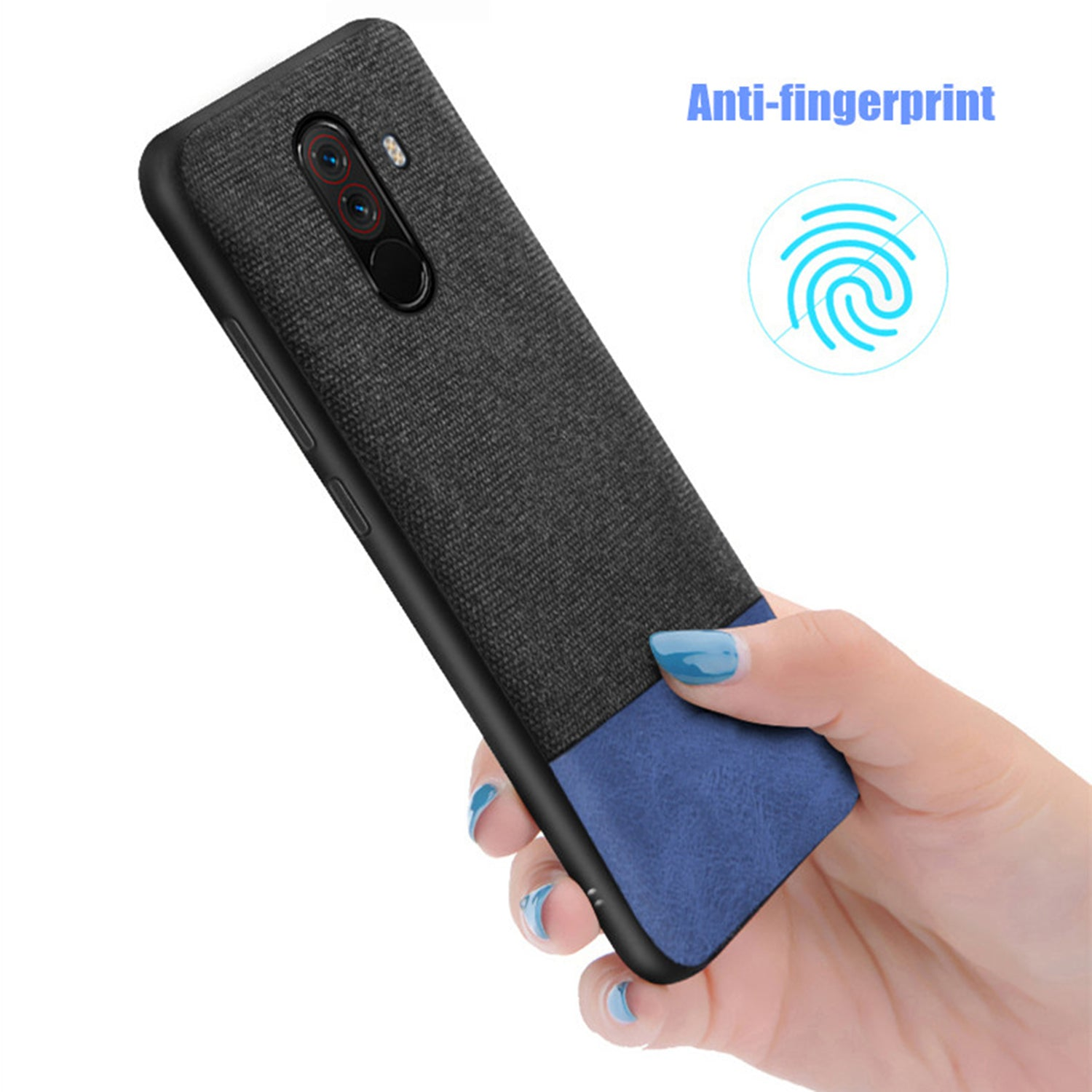 Soft Fabric Hybrid Protective Shock Proof Case Cover for Poco F1 - Mobizang