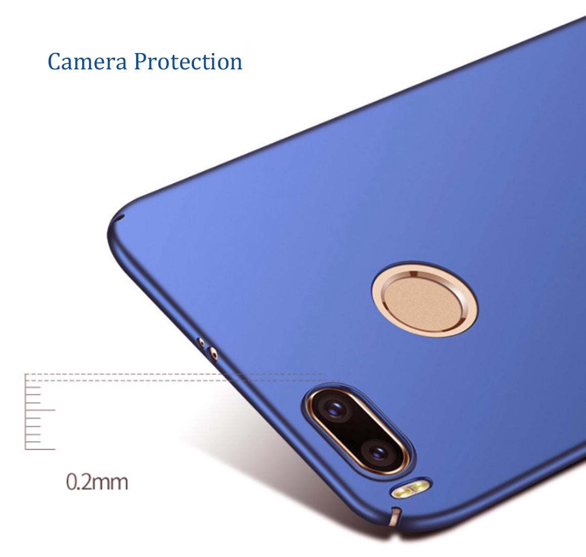 Silk Smooth Finish [Full Coverage] All Sides Protection Slim Back Case Cover For Xiaomi Mi A1 - Blue - Mobizang
