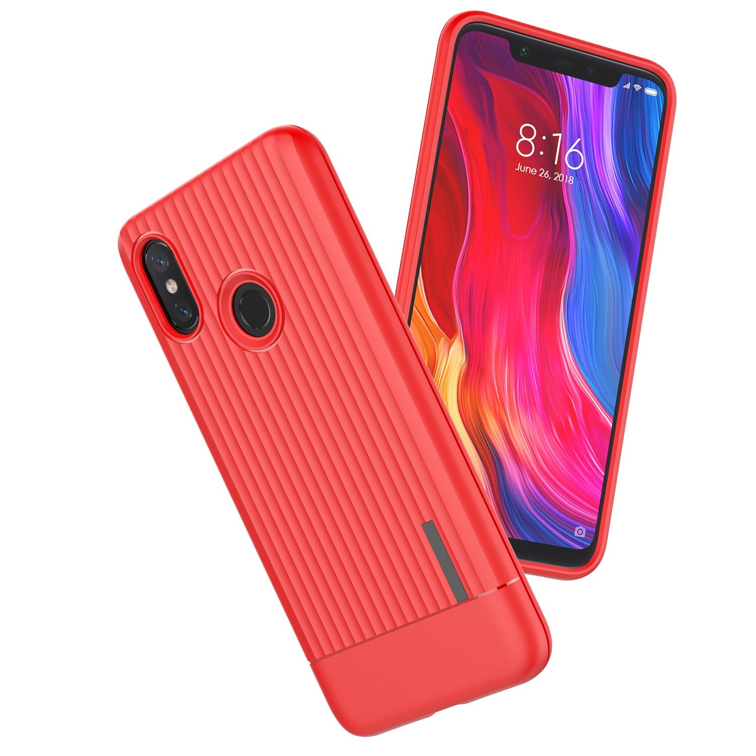 Wave Design Shock Proof Slim Rugged Back Cover Case for Xiaomi Redmi Note 6 PRO - Red - Mobizang