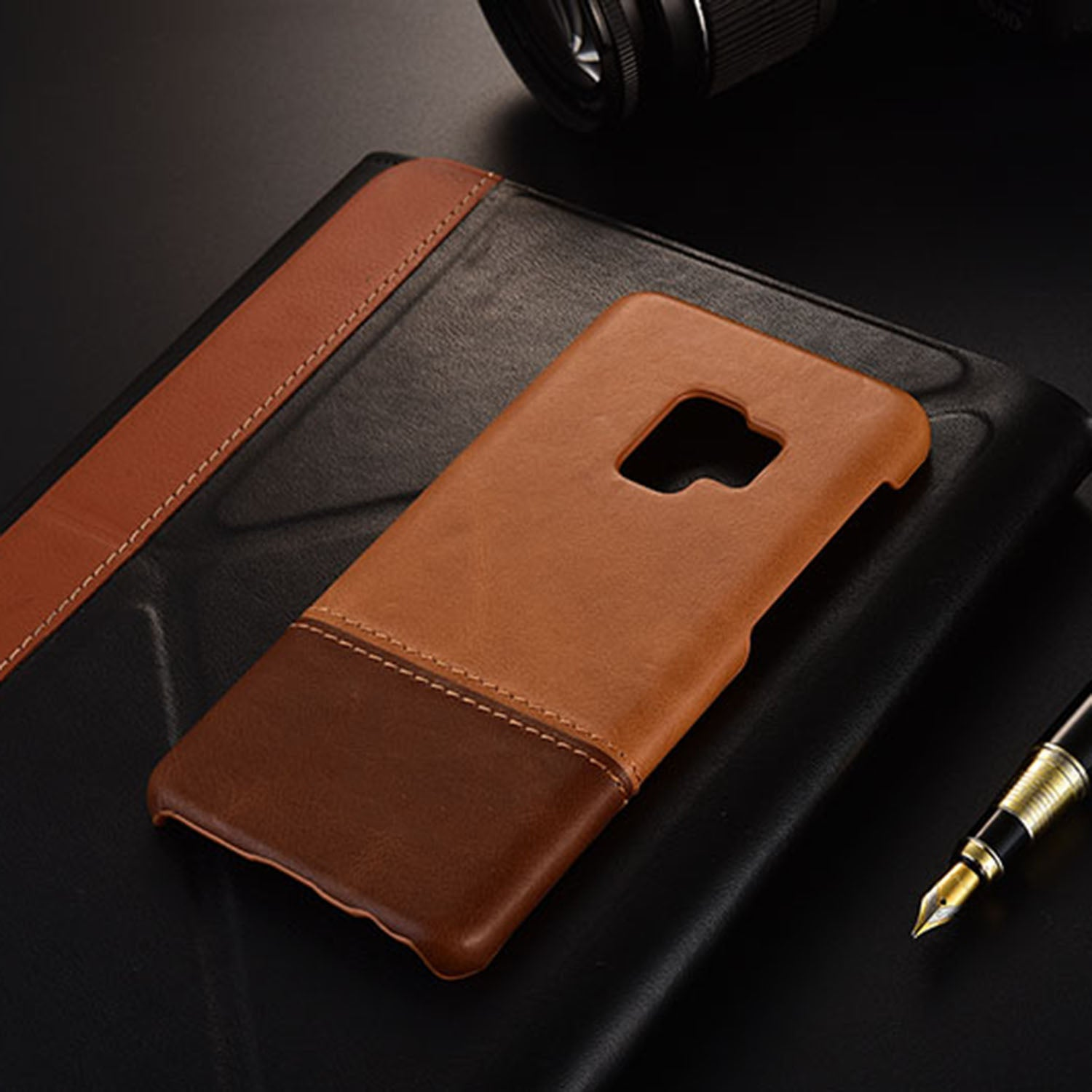 Genuine Leather Dual Color Hand Stitched Premium Protective Case Cover for Samsung Galaxy S9 - Brown - Mobizang