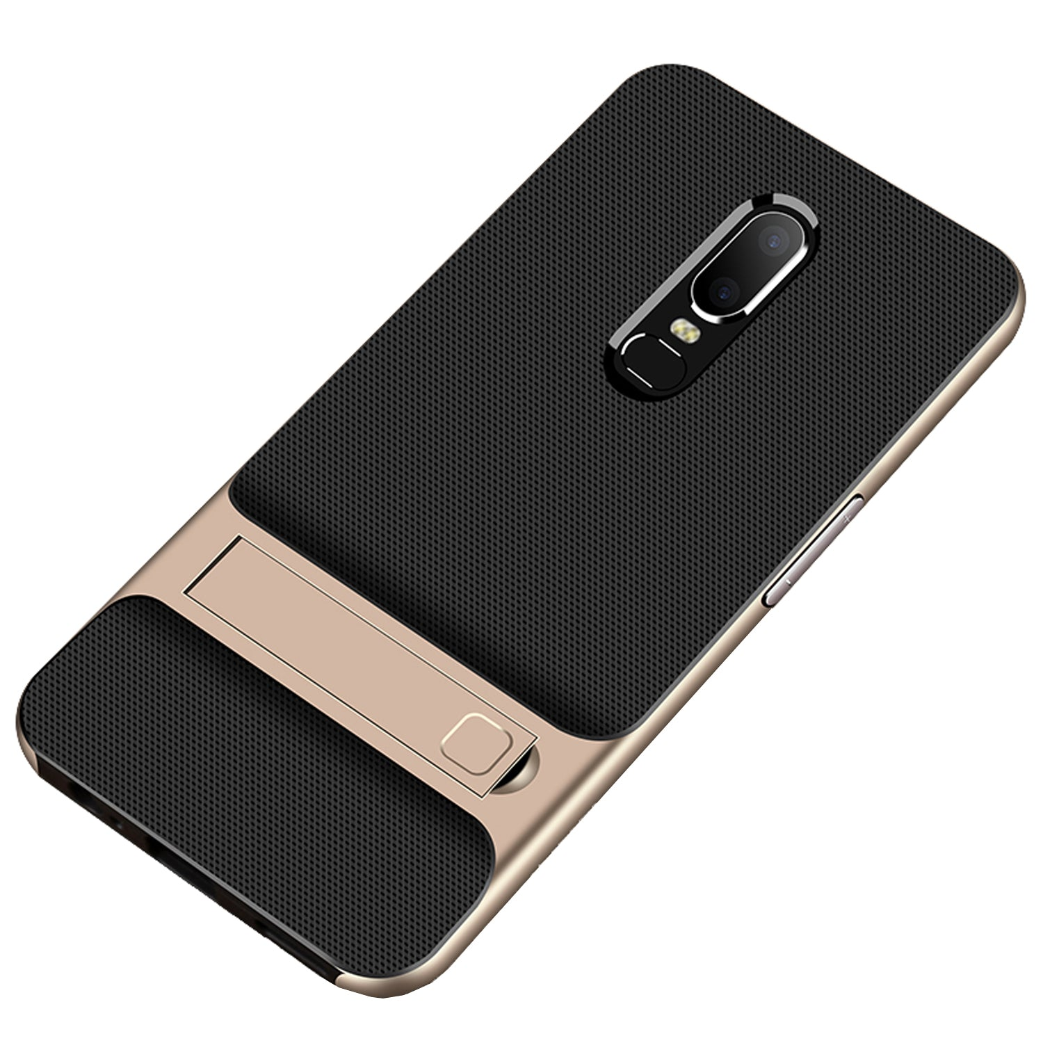 Shock Proof Stand Back Case Cover for Oneplus 6 - Gold - Mobizang