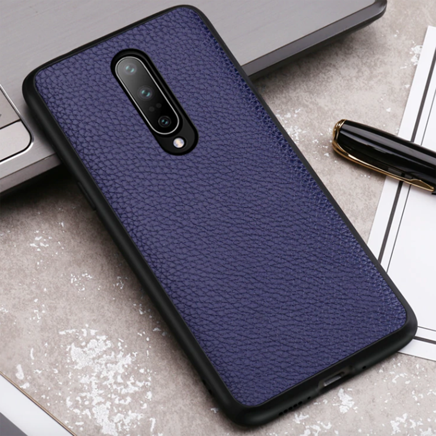 Litchi Leather Slim Shock Proof Protective Back Case Cover for OnePlus 7 Pro - Mobizang