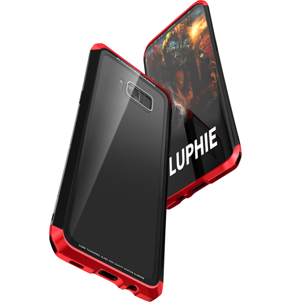 Luphie Tempered Glass Back + Metal Side Frame Bumper Shock Proof Case Cover for Samsung Galaxy S8 - Red-Black - Mobizang