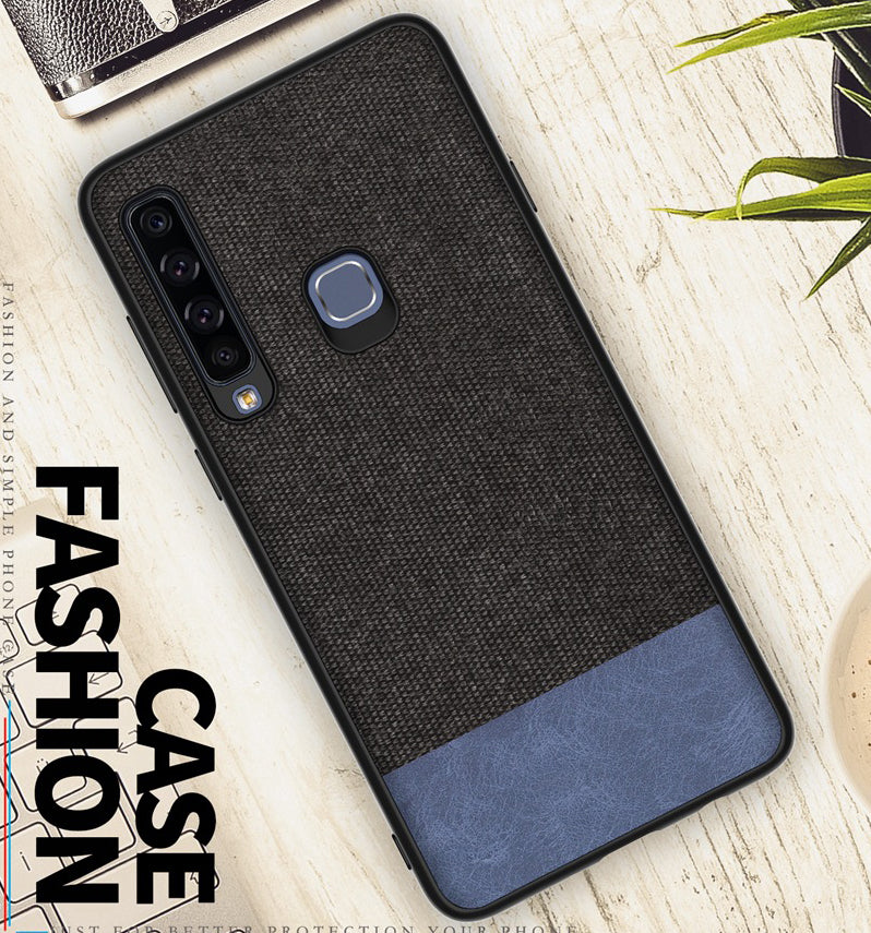 Soft Fabric & Leather Hybrid Protective Back Case Cover for Samsung Galaxy A9 (2018) - Black & Blue - Mobizang