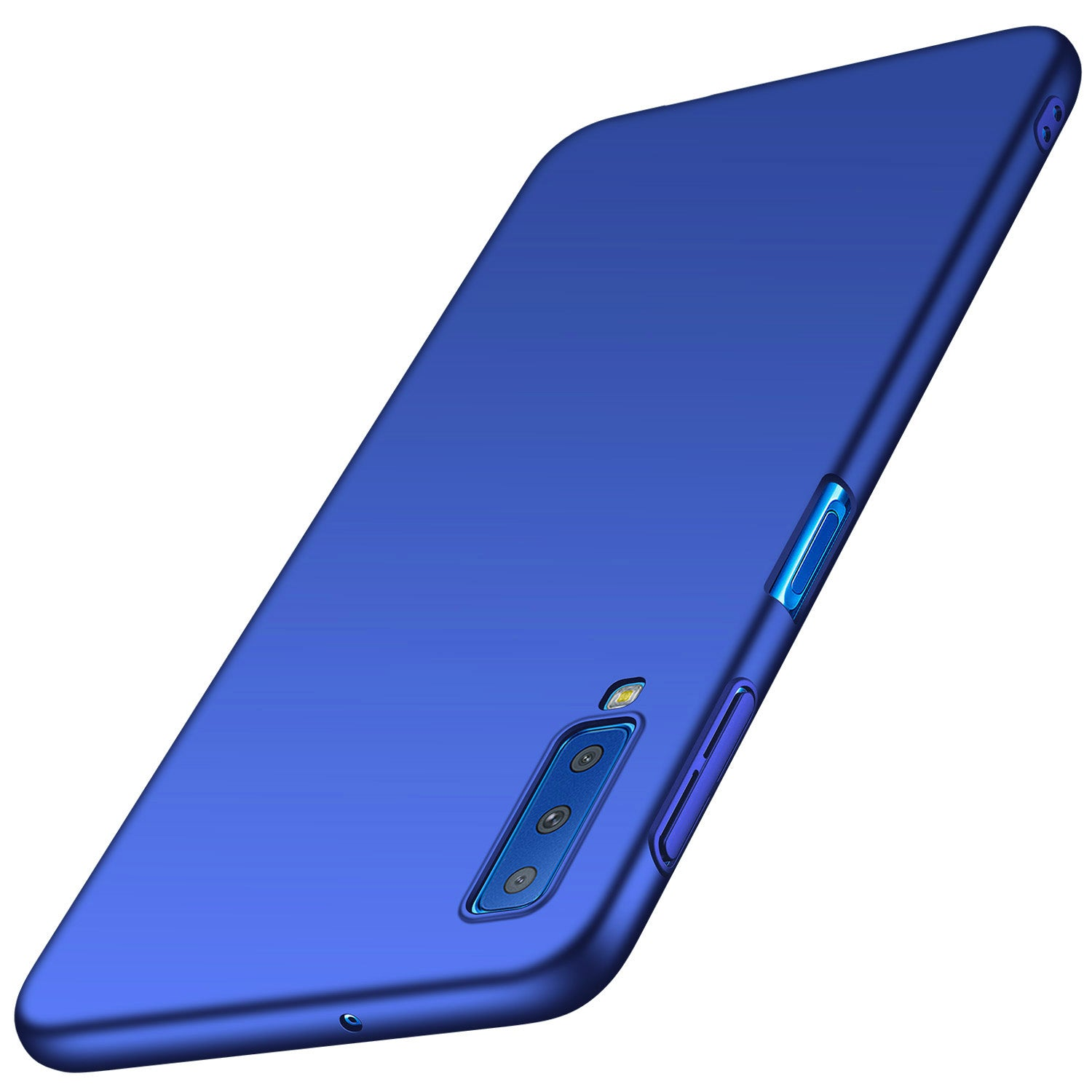 Silk Smooth Finish [Full Coverage] All Sides Protection Slim Back Case Cover For Samsung Galaxy A7 (2018) - Blue - Mobizang