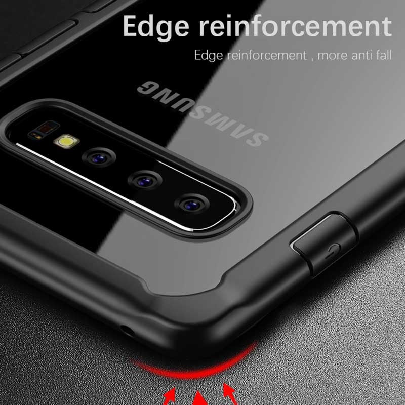 Shock Proof Armor Acrylic Transparent Back Case Cover for Samsung Galaxy S10 - Mobizang
