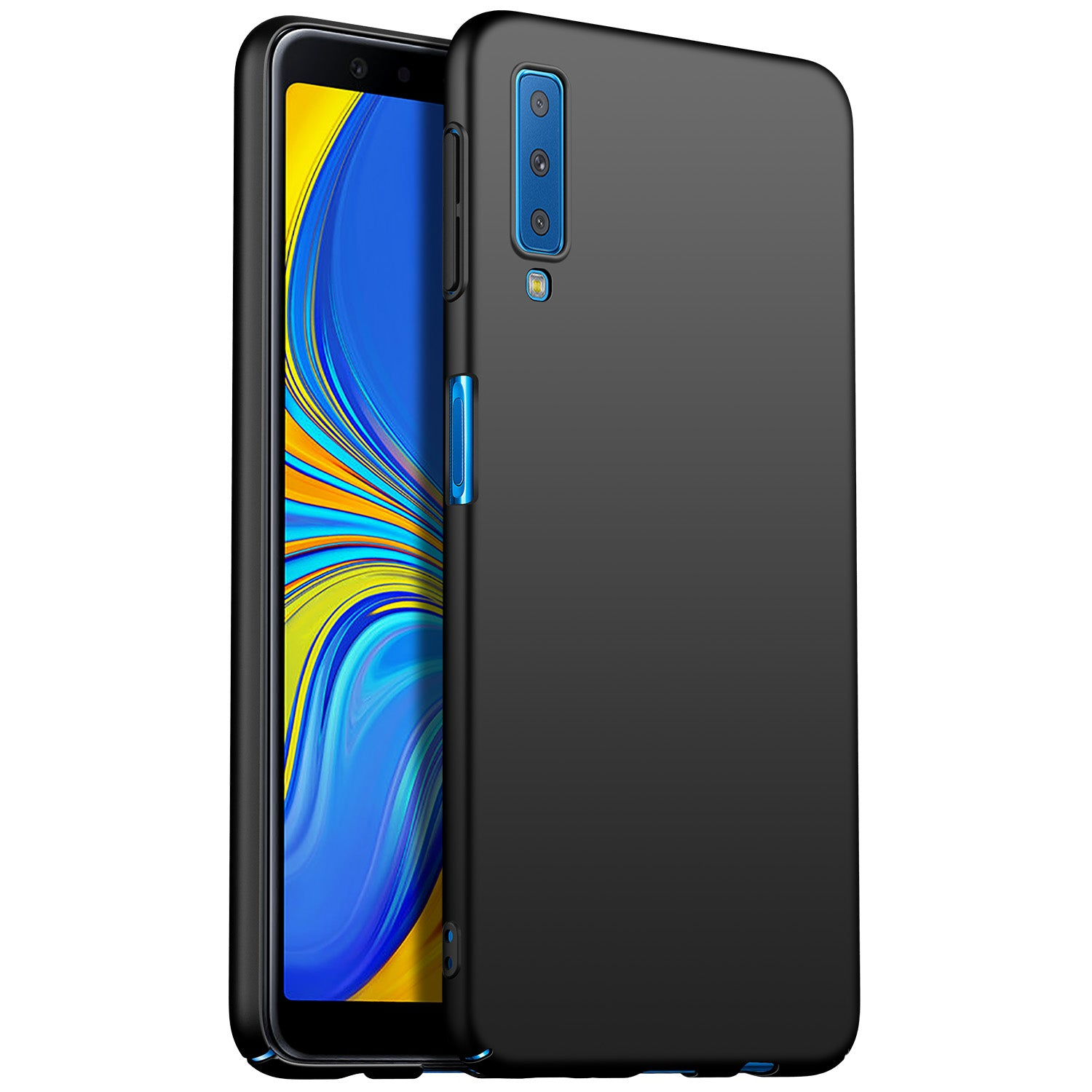 Silk Smooth Finish [Full Coverage] All Sides Protection Slim Back Case Cover For Samsung Galaxy A7 (2018) - Black - Mobizang