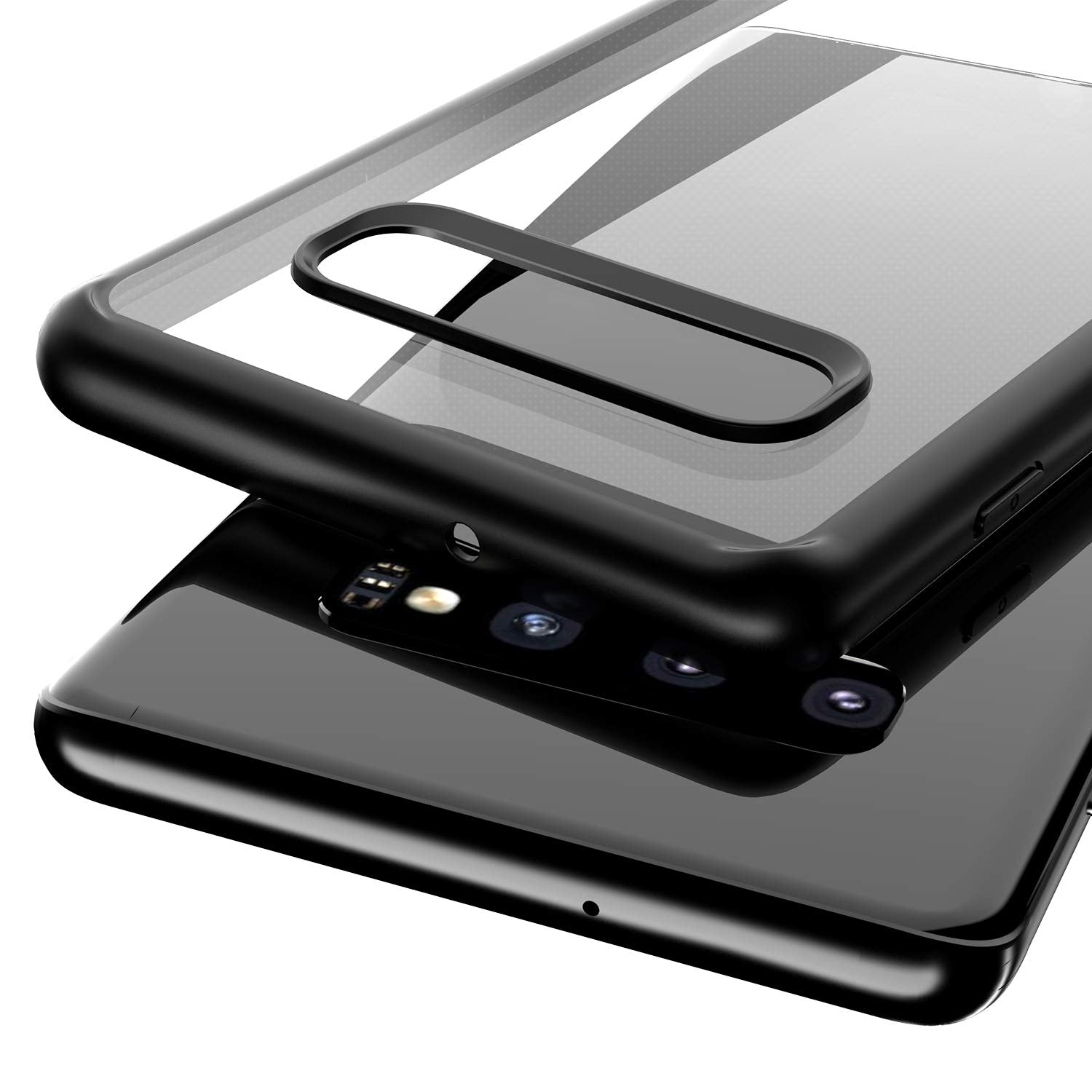Hawkeye Clear Back Camera Lens Protector Case Cover Compatible for Samsung Galaxy S10 - Black - Mobizang