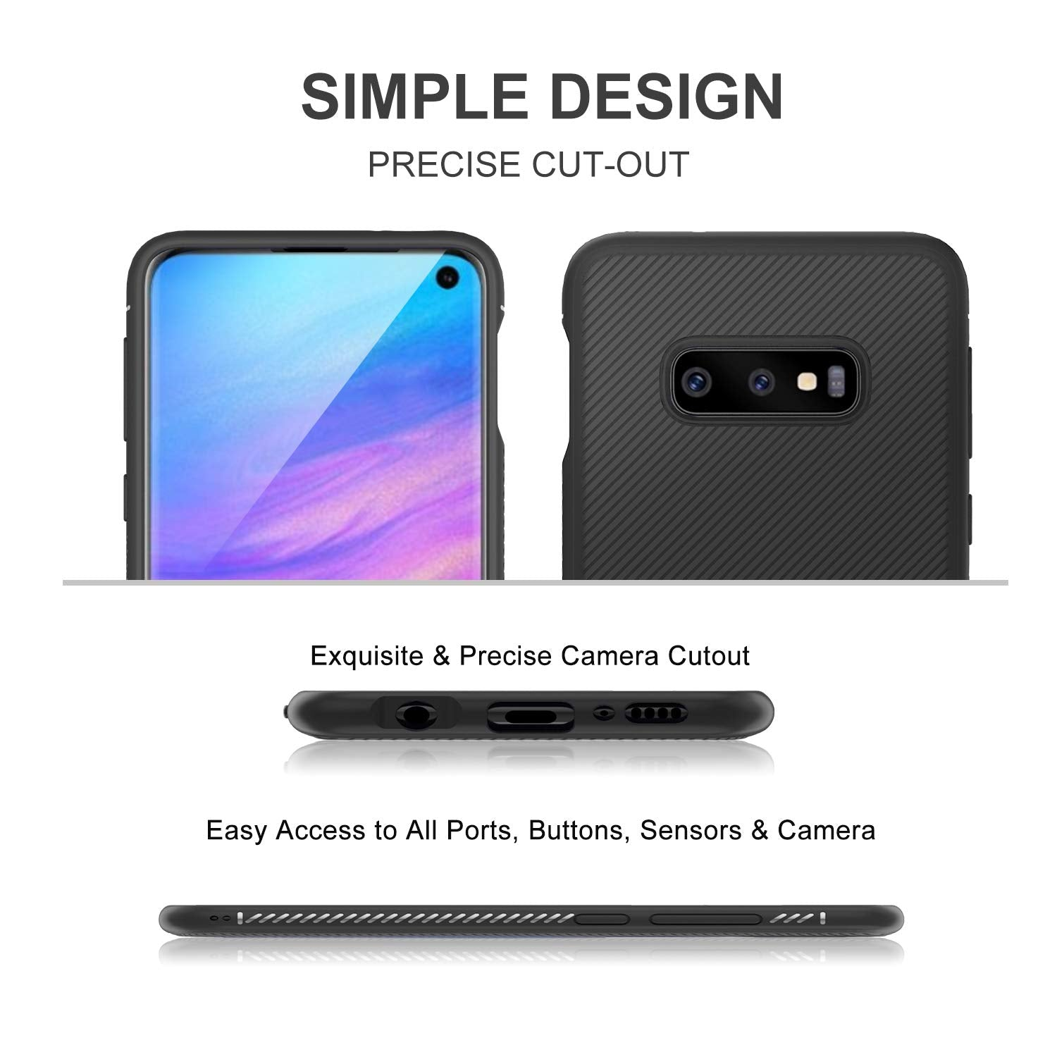 Twill Shock Proof Soft Flexible Back Case Cover for Samsung Galaxy S10e - Black - Mobizang