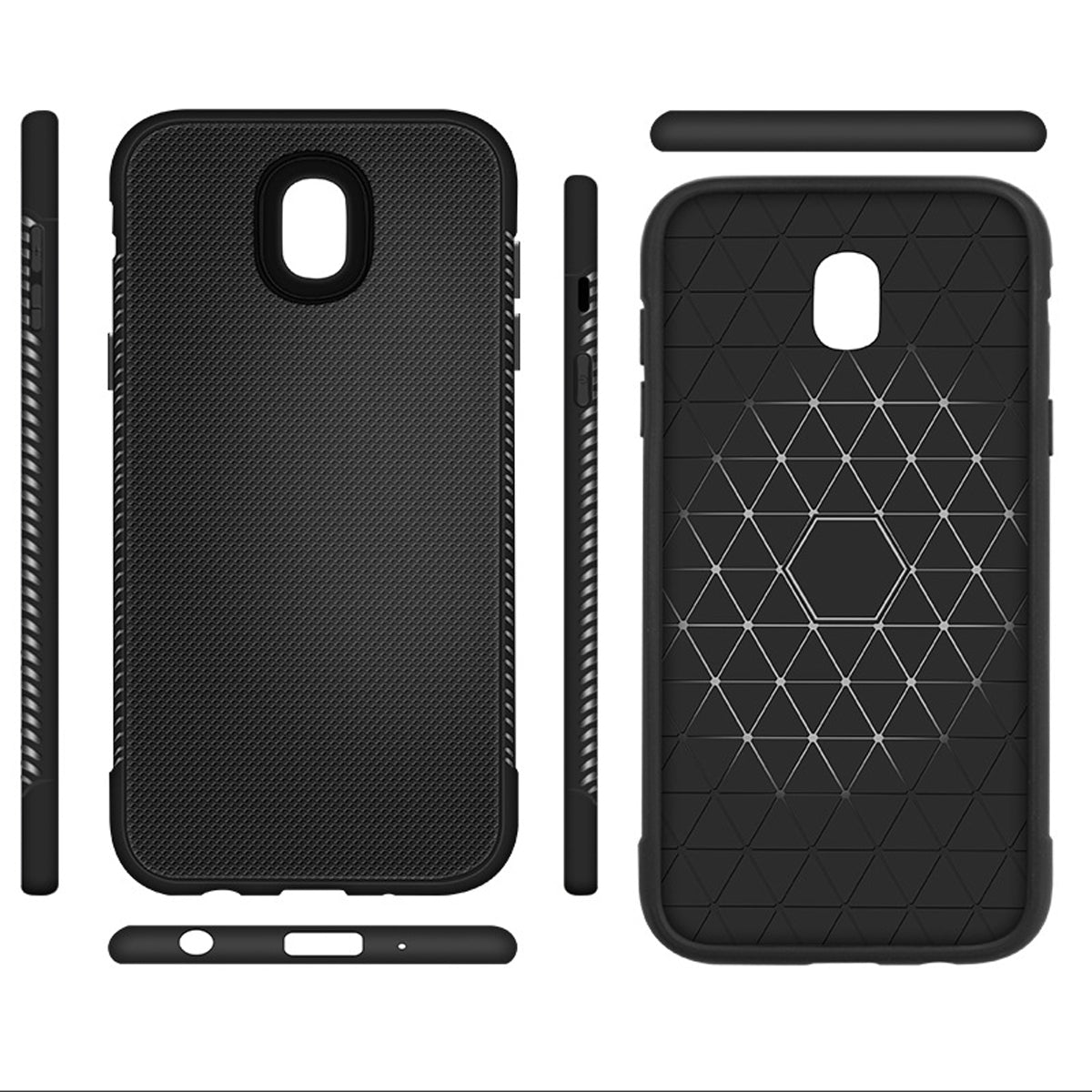 Shock Proof Anti Skid 360° Armor Back Case Cover for Samsung Galaxy J7 Pro - Black - Mobizang