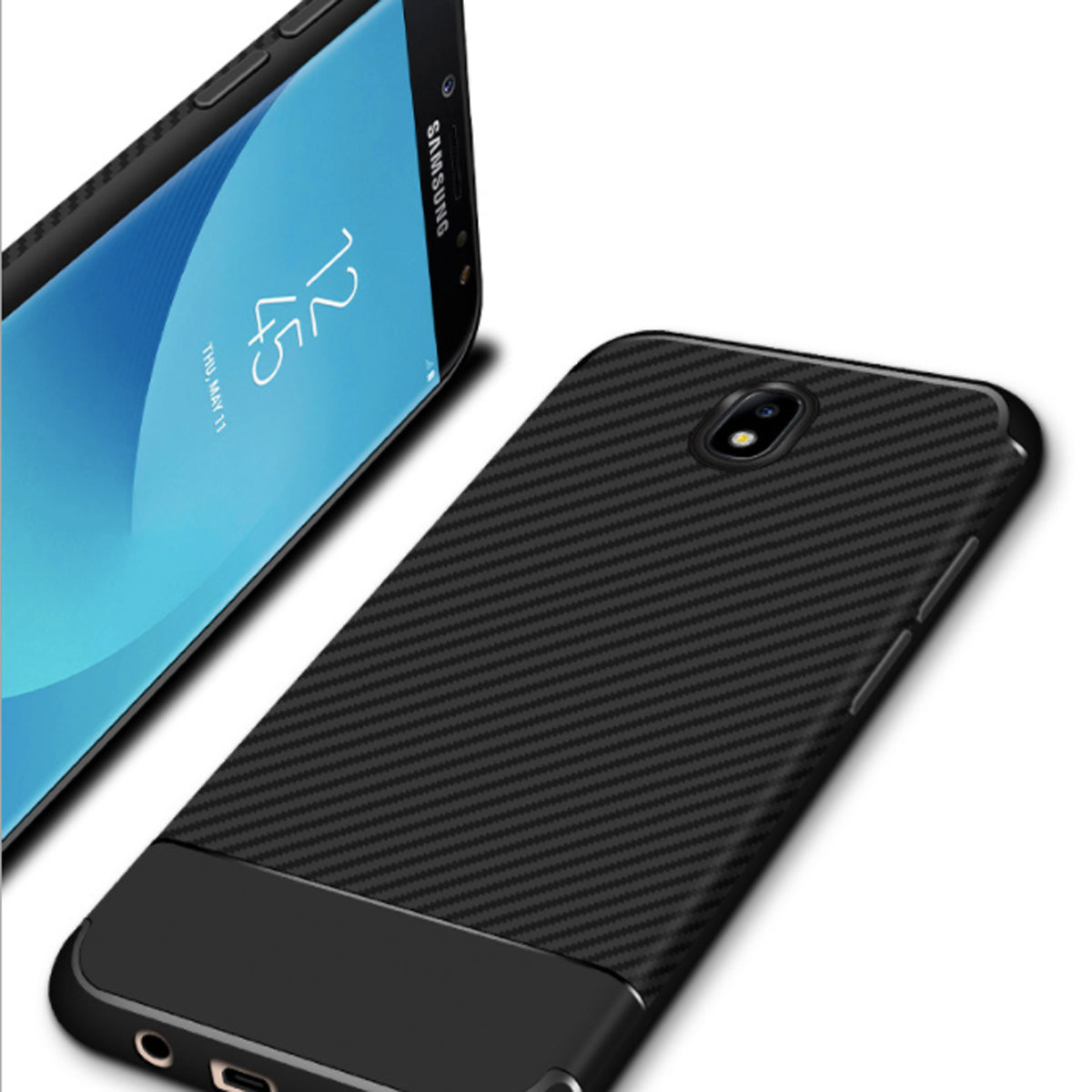 Carbon Fibre Pattern Protective Flexible Back Case Cover for Samsung Galaxy J7 PRO - Mobizang